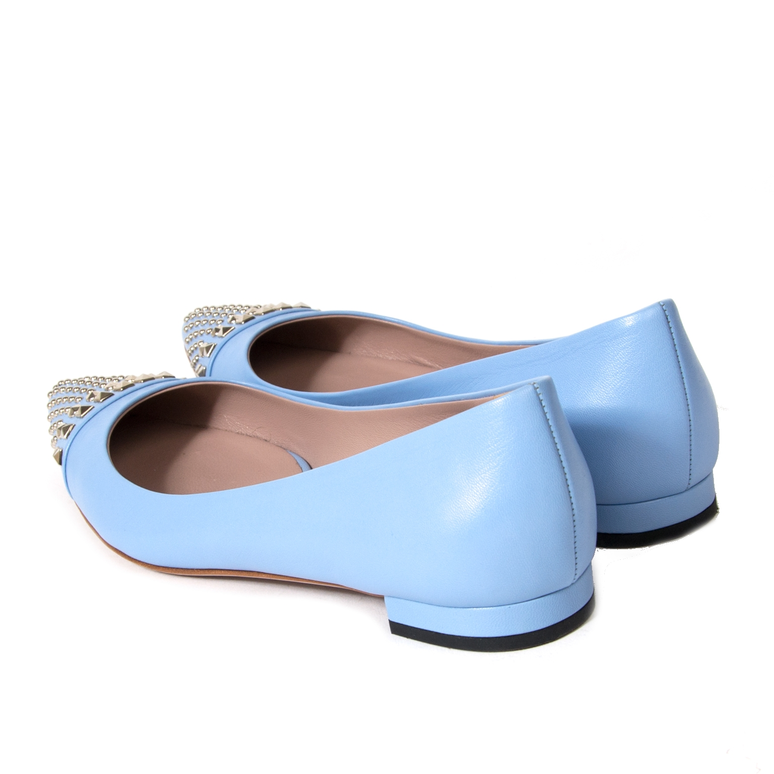 gucci coline blue leather studded flats now for sale at labellov vintage fashion webshop belgium
