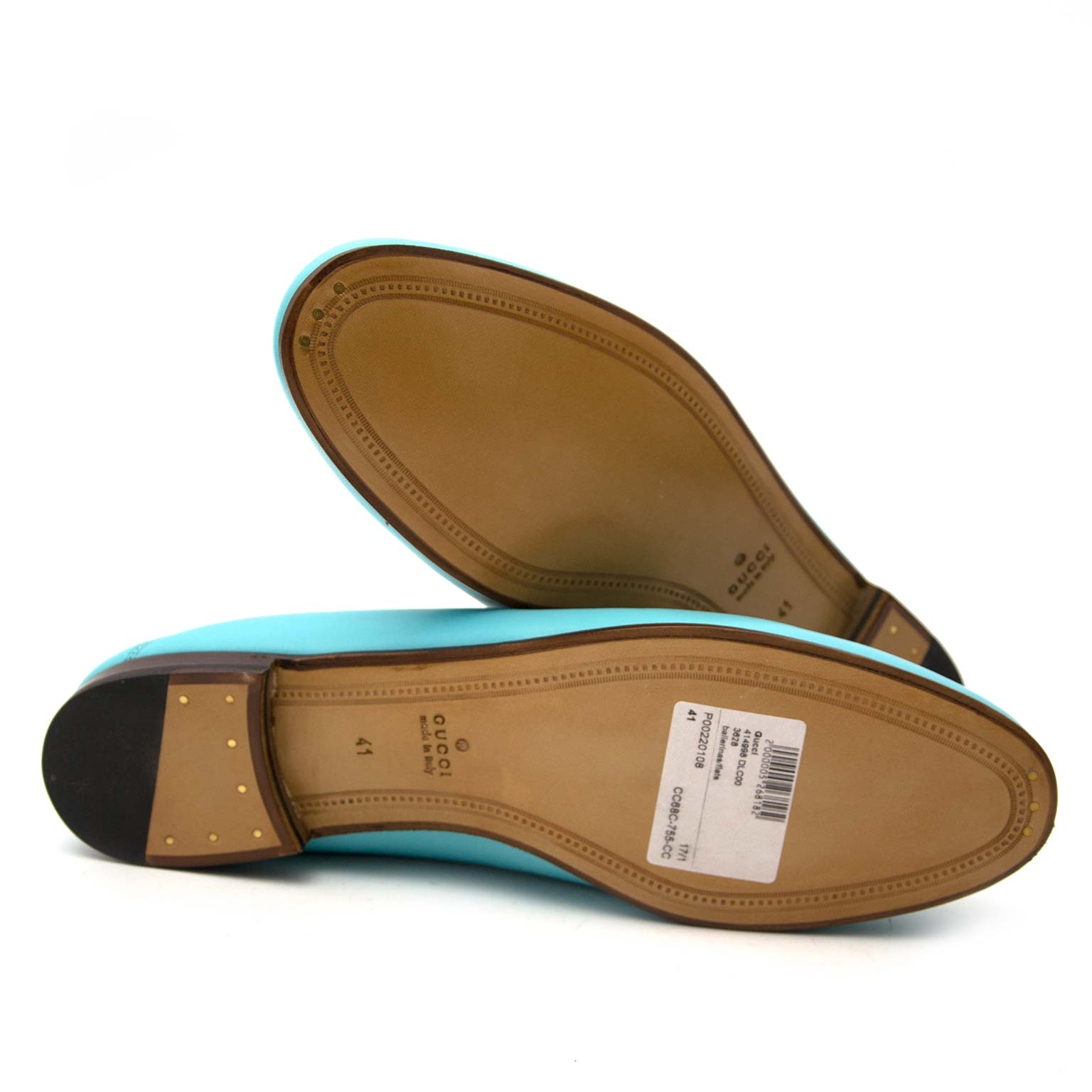 acheter en ligne seconde main *NEVER USED* Gucci Acquamarine Agnello Plongé Loafers - Size 41