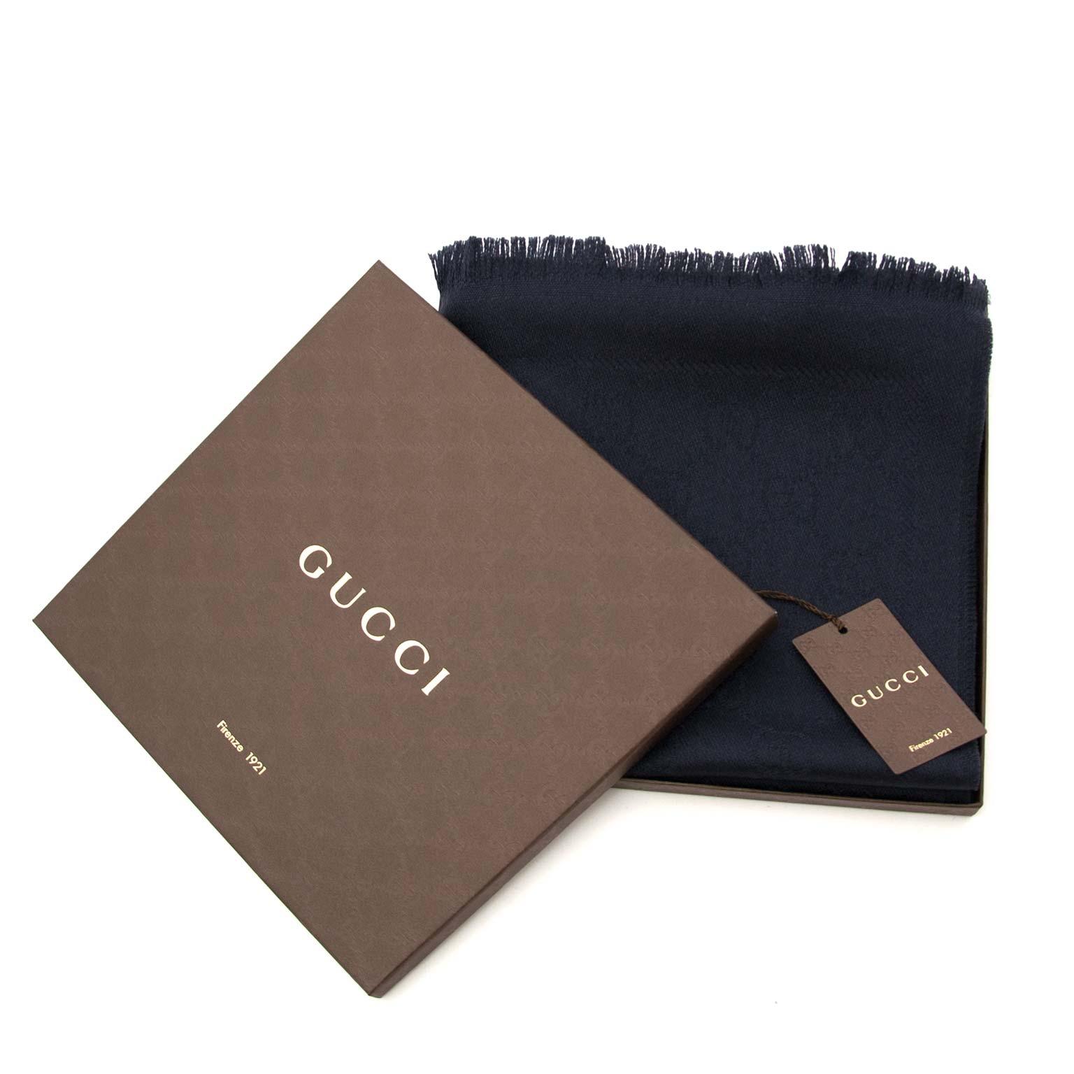 acheter en ligne ou boutique Anvers Gucc Dark Blue Monogram Wool Scarf
