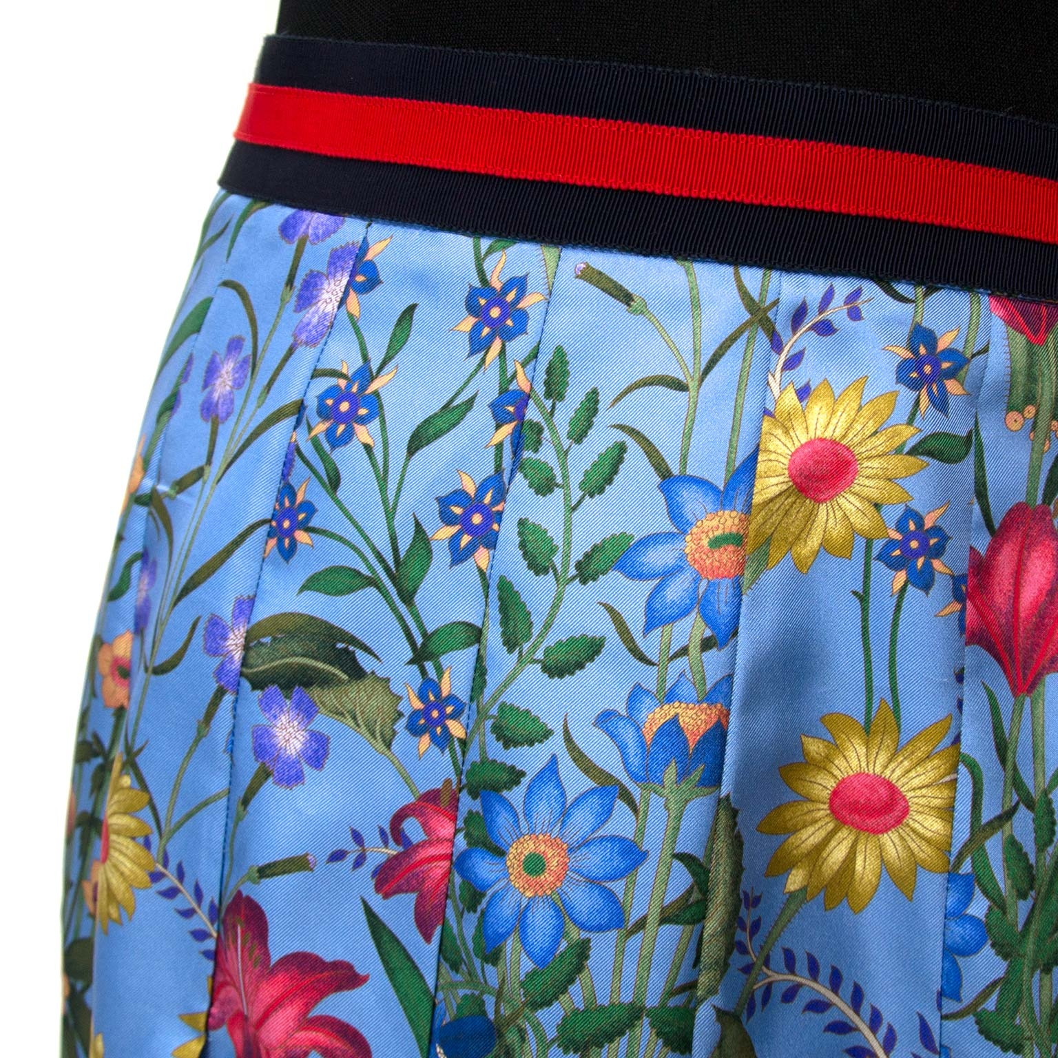 Gucci Blue Flora Skirt - Size EU 36