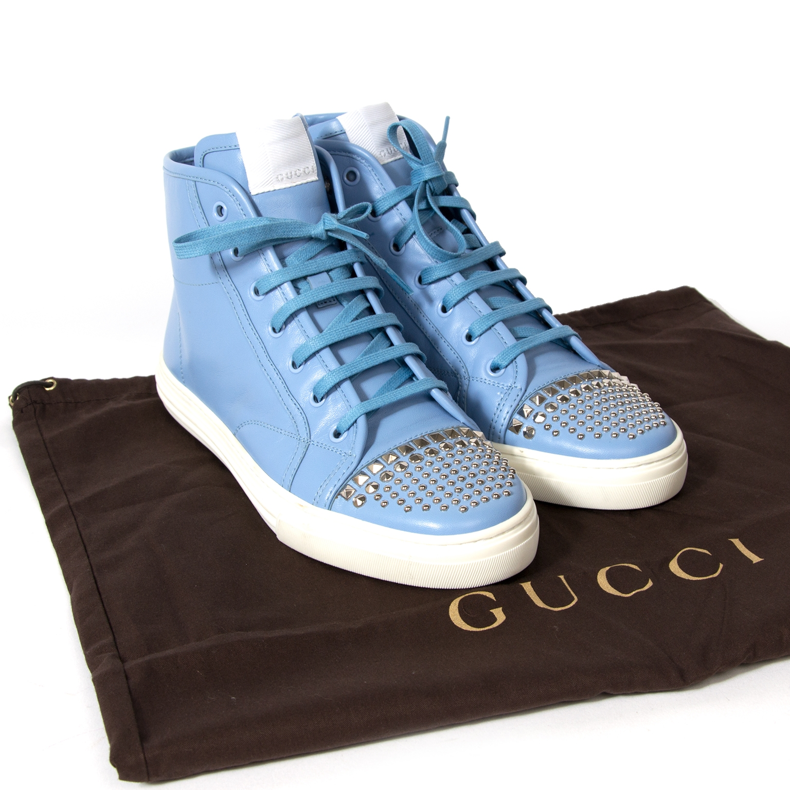 gucci high top baby blue sneakers now for sale at labellov vintage