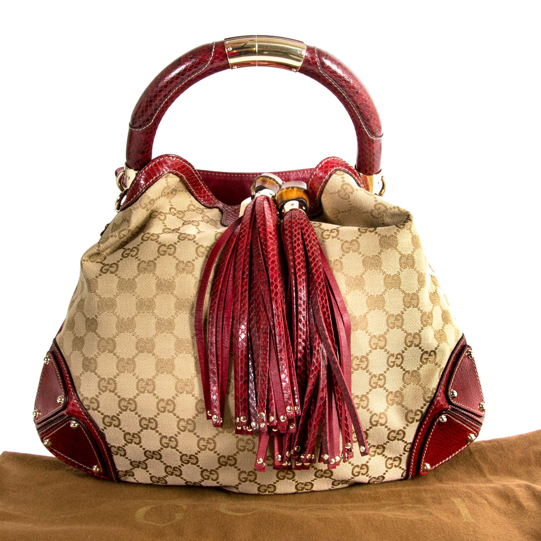 0b474bb0c67c ... Gucci Limited Edition Monogram And Red Python Indy Bag now for sale at  labellov vintage fashion