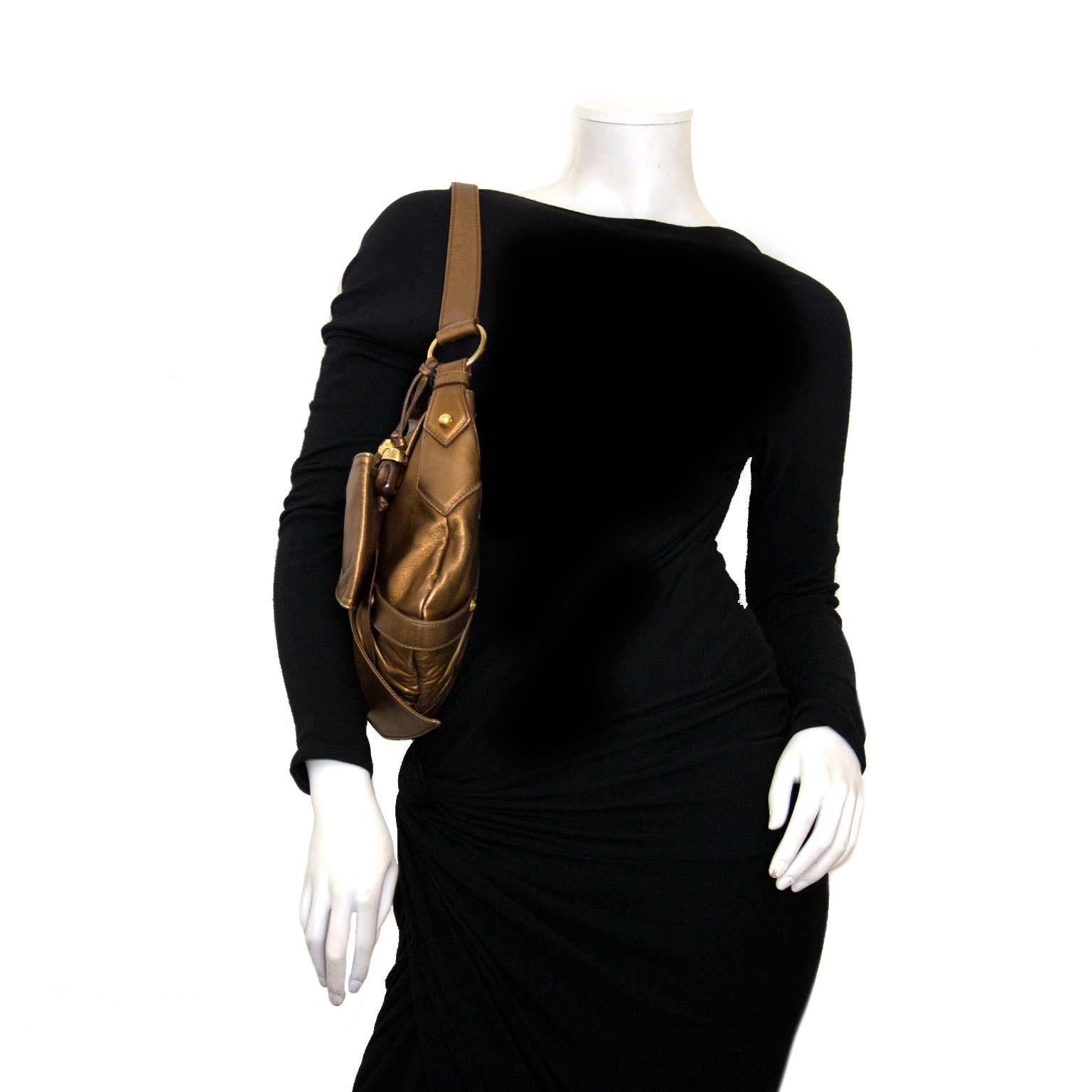 koop authentieke yves saint laurent mettalic bronze bow tas bij labellov vintage mode webshop belgië