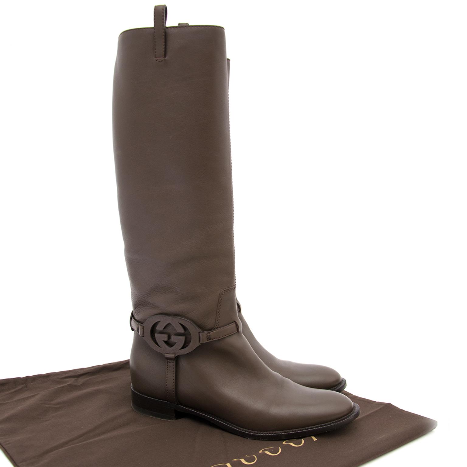 Koop tweedehands Gucci GG Brown Riding Boots Size 38,5 aan de juiste prijs