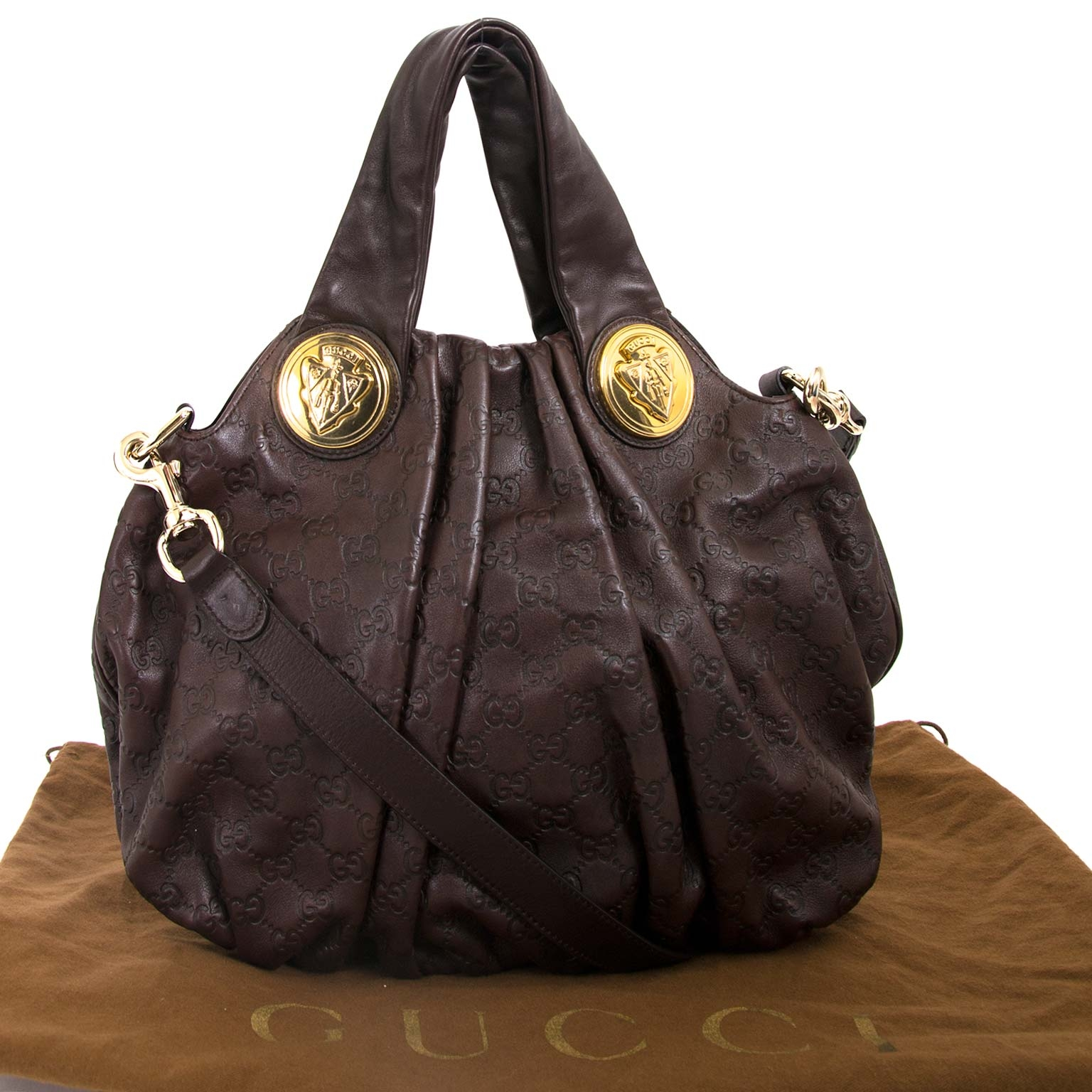Gucci Brown Monogram Embossed Hysteria Bag