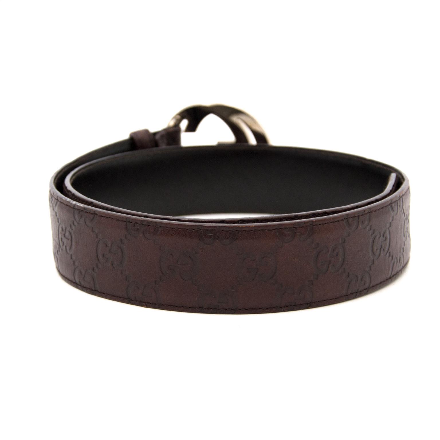 Acheter en ligne chez Labellov.com Gucci Brown Gold Embossed Belt - Size:80