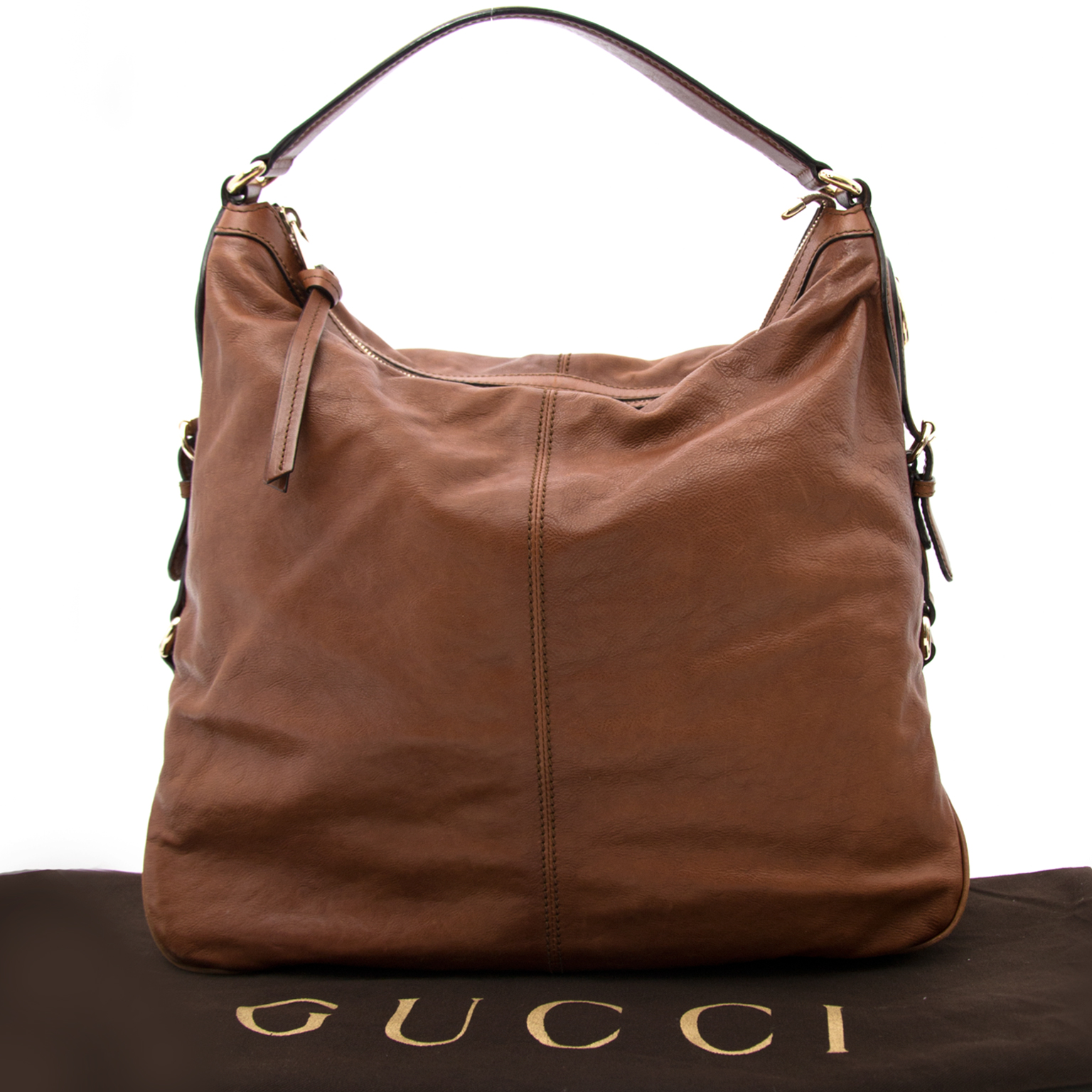 We buy and sell your secondhand designer handbags such as Gucci Brown Leather Shoulder Bag