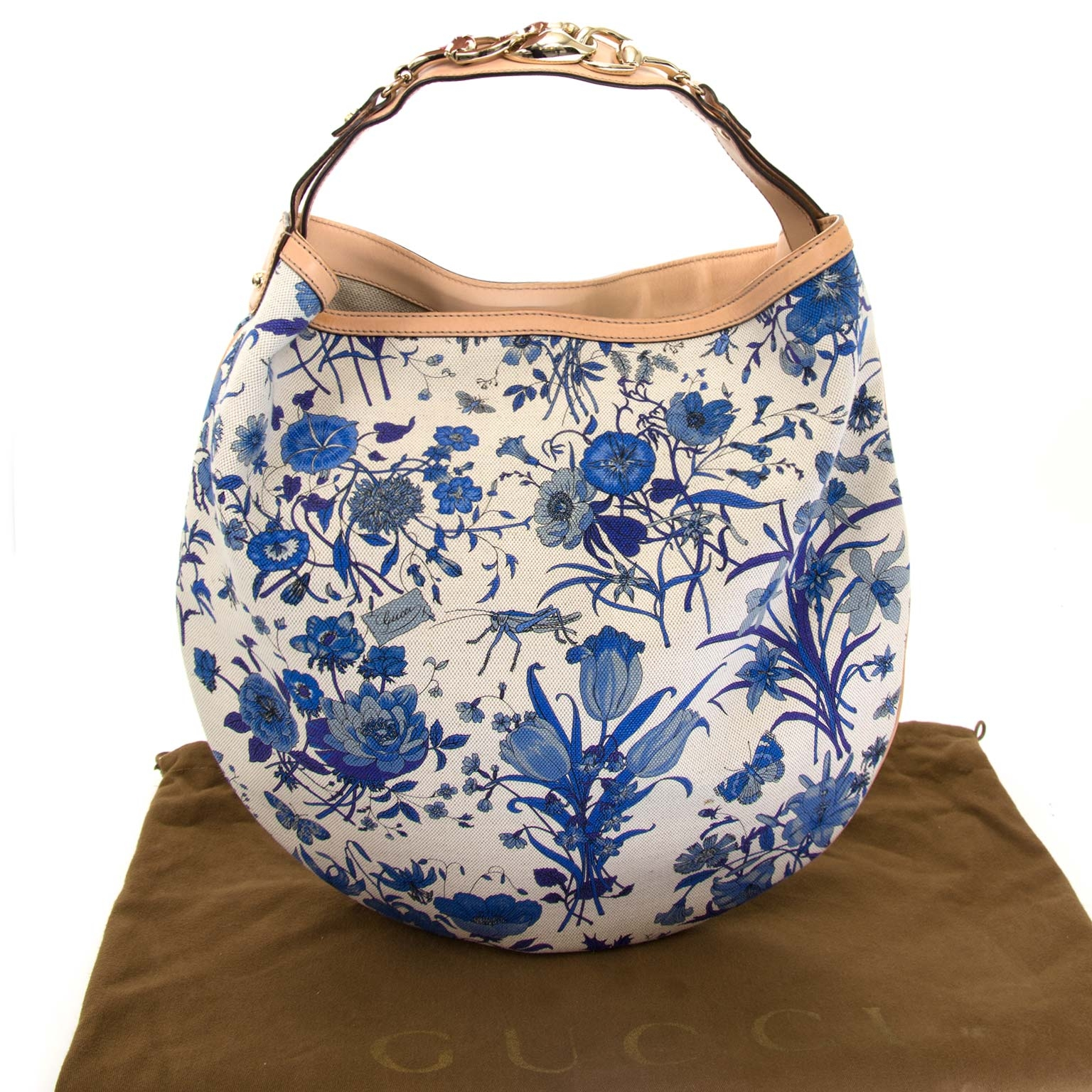 Gucci Blue Flora Canvas Wave Horsebit Hobo Bag now for sale at labellov vintage fashion webshop belgium
