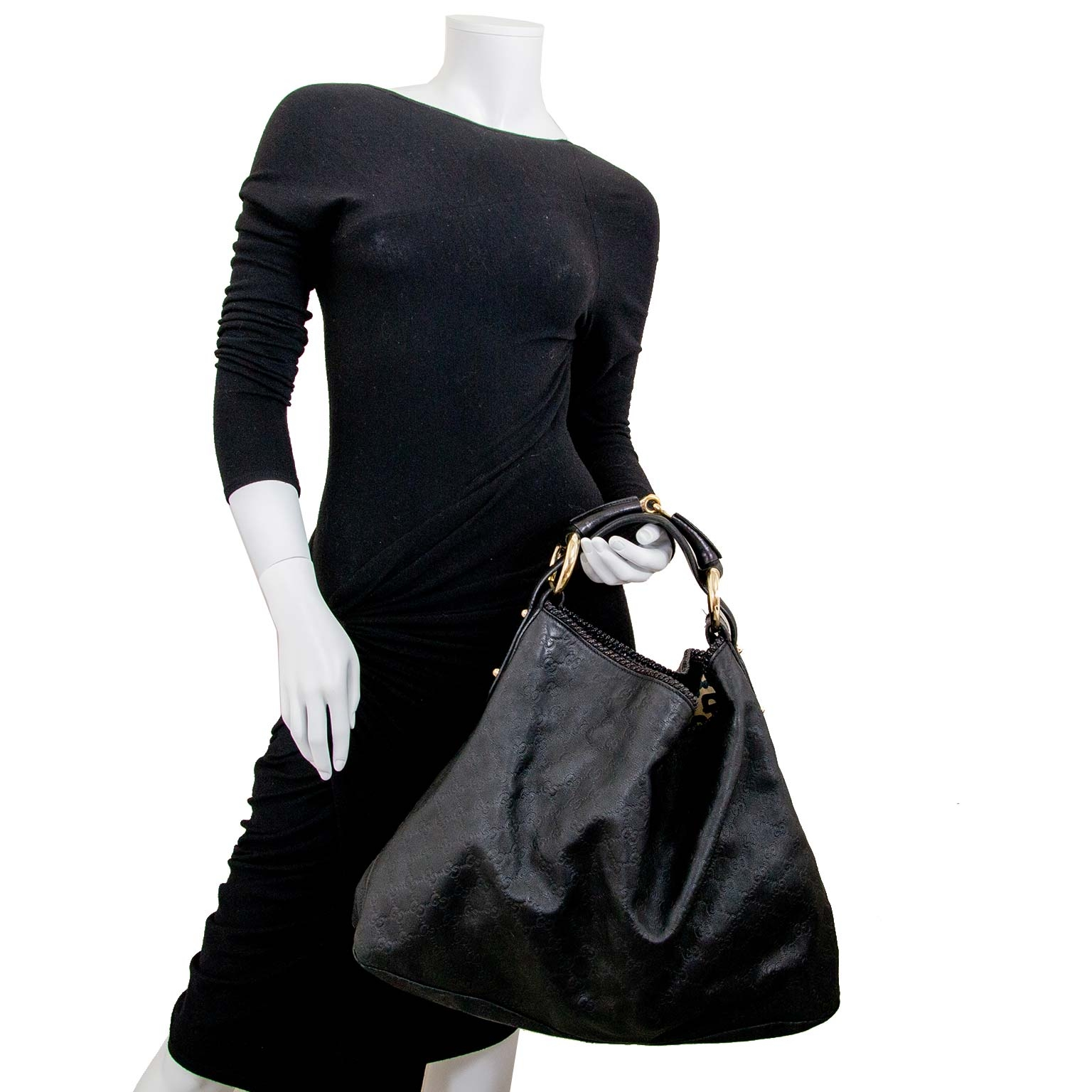 Gucci black leather monogram large horsebit hobo bag now for sale at labellov vintage fashion webshop belgium
