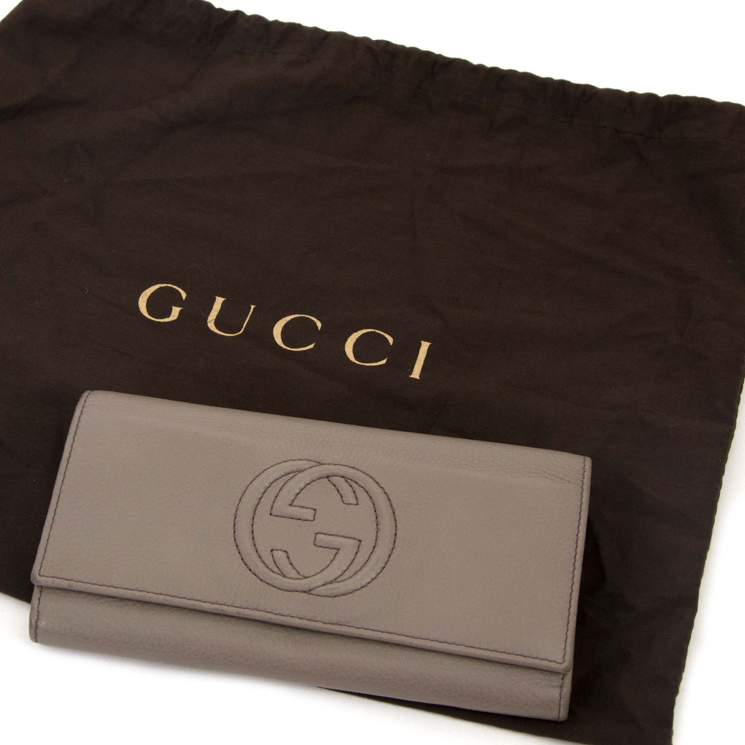 gucci grey soho leather wallet now for sale at labellov vintage fashion webshop belgium