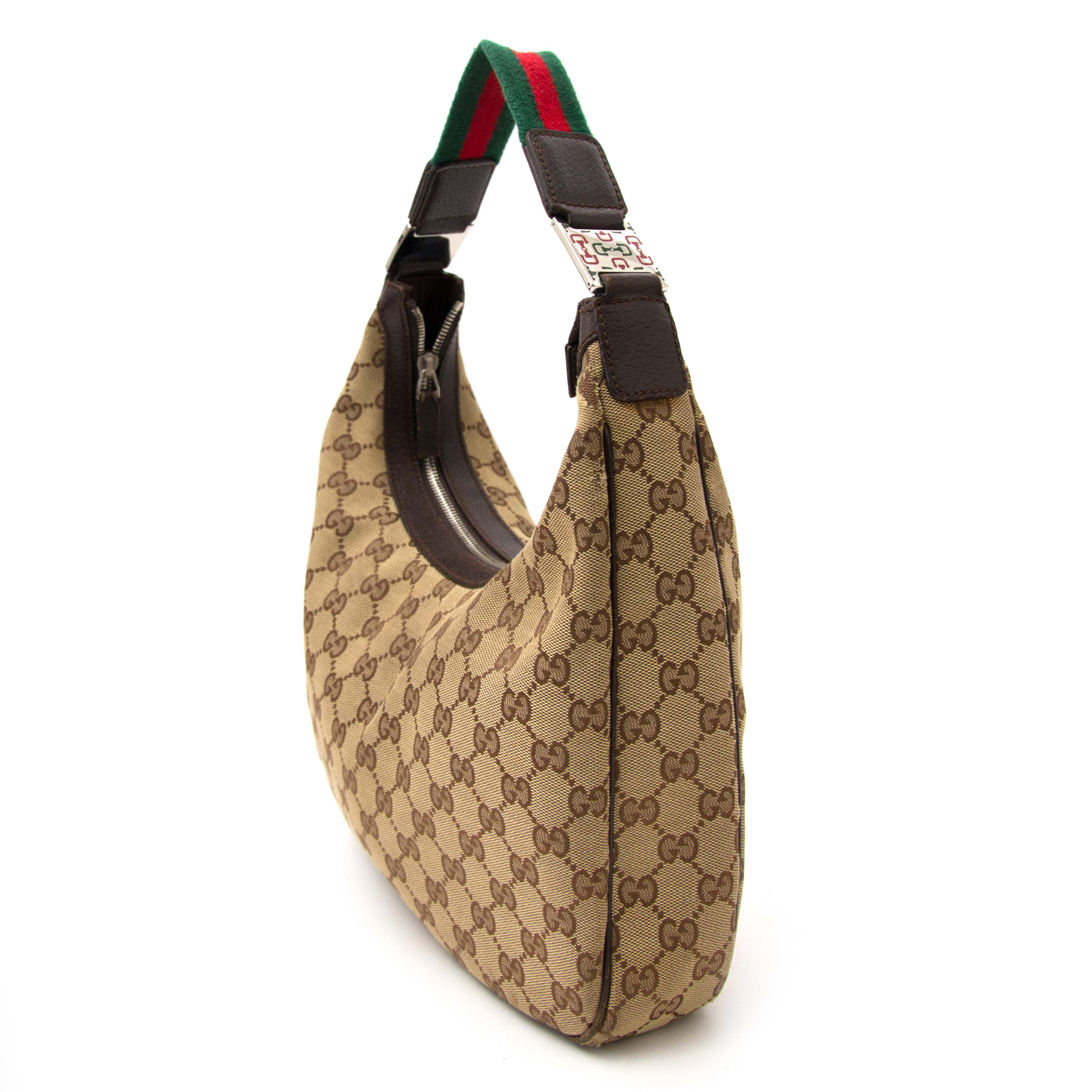 850d409a8d5 ... looking for a secondhand Gucci Monogram Fabric Green Red Stripe Hobo  Bag & Wallet
