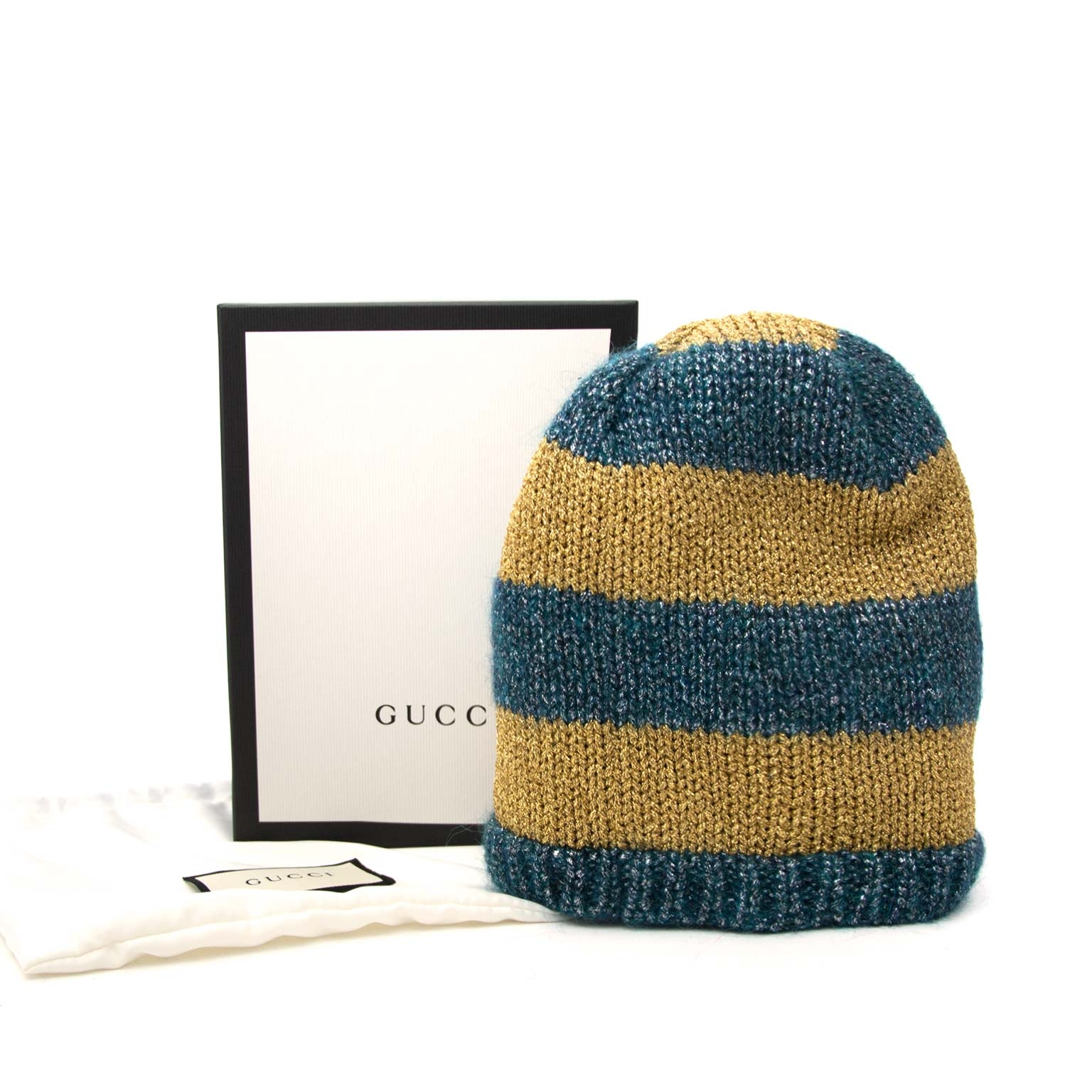 Gucci Green/Blue and Golden Metallic Beanie