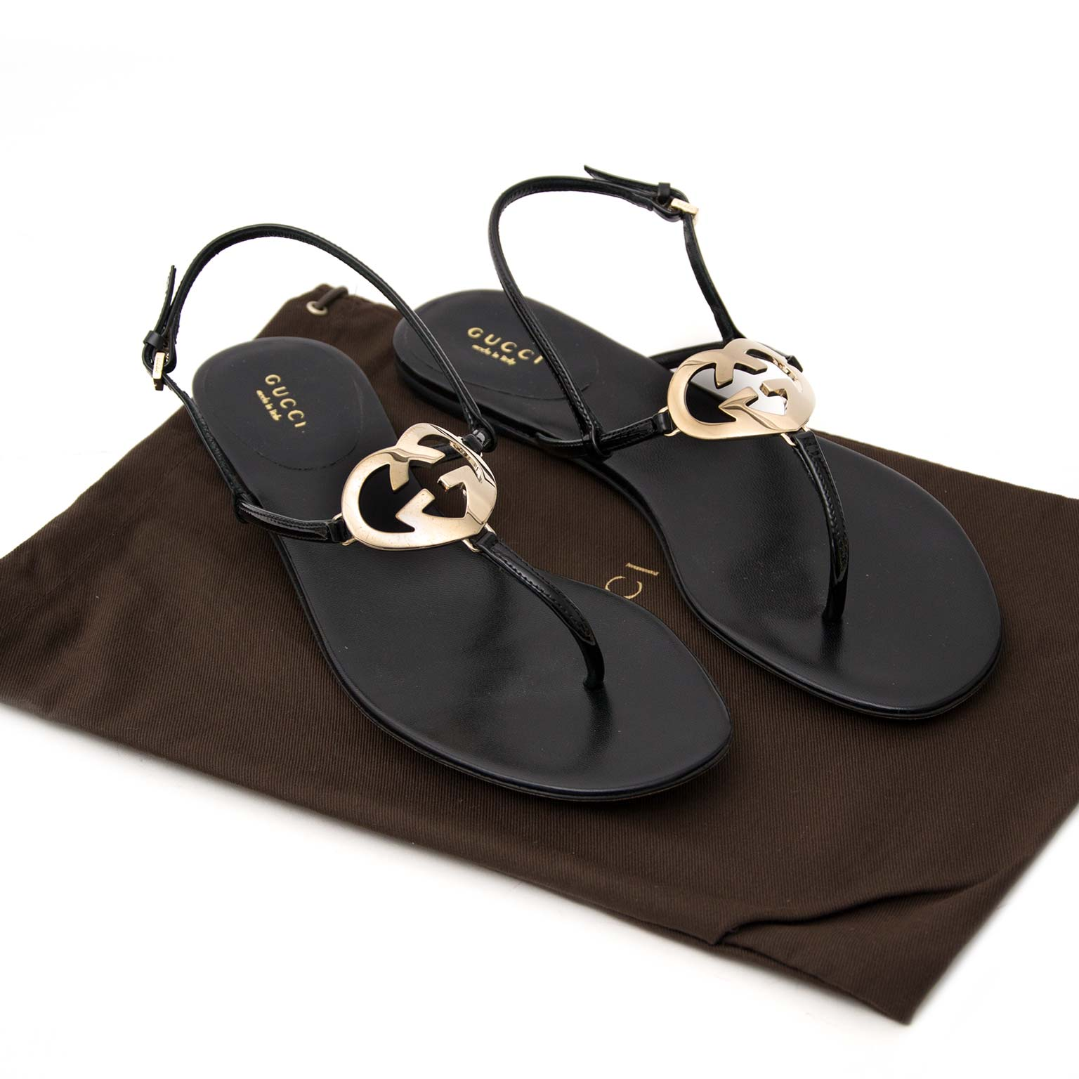 Gucci Black GG Heart Sandals acheter en ligne seconde main