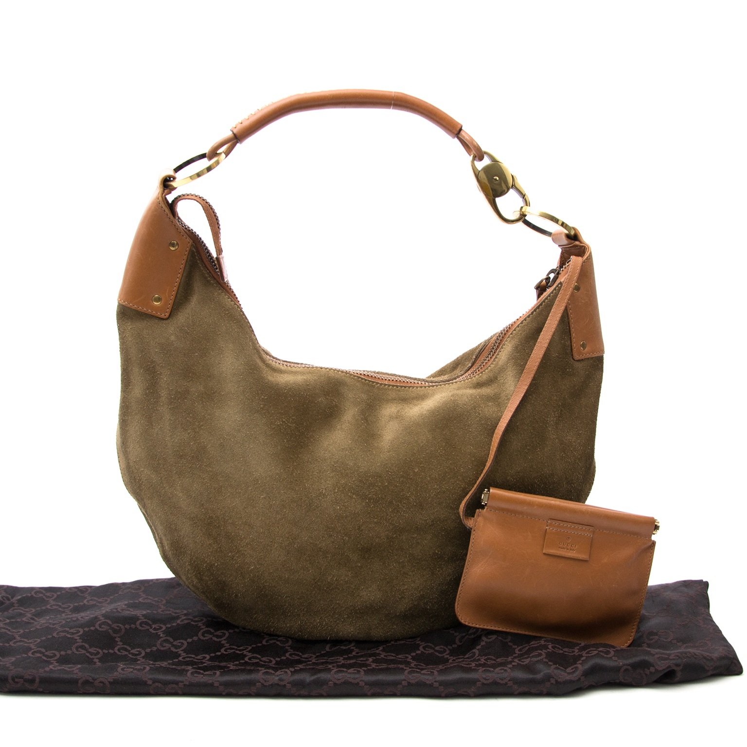 Buy a secondhand Gucci Suede Khaki Topstitched Hobo at Labellov.