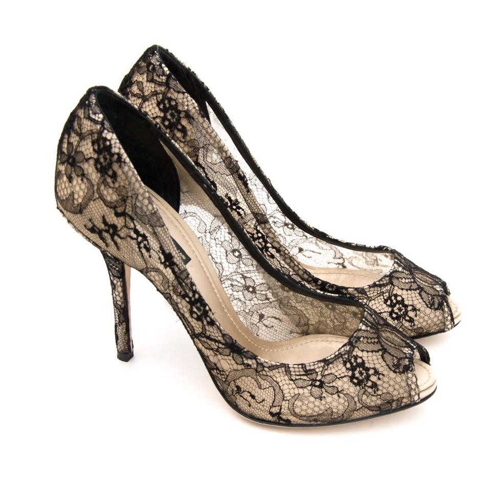 Dolce & Gabbana Nero Champagne Peep Toe Pumps pour le meilleur prix