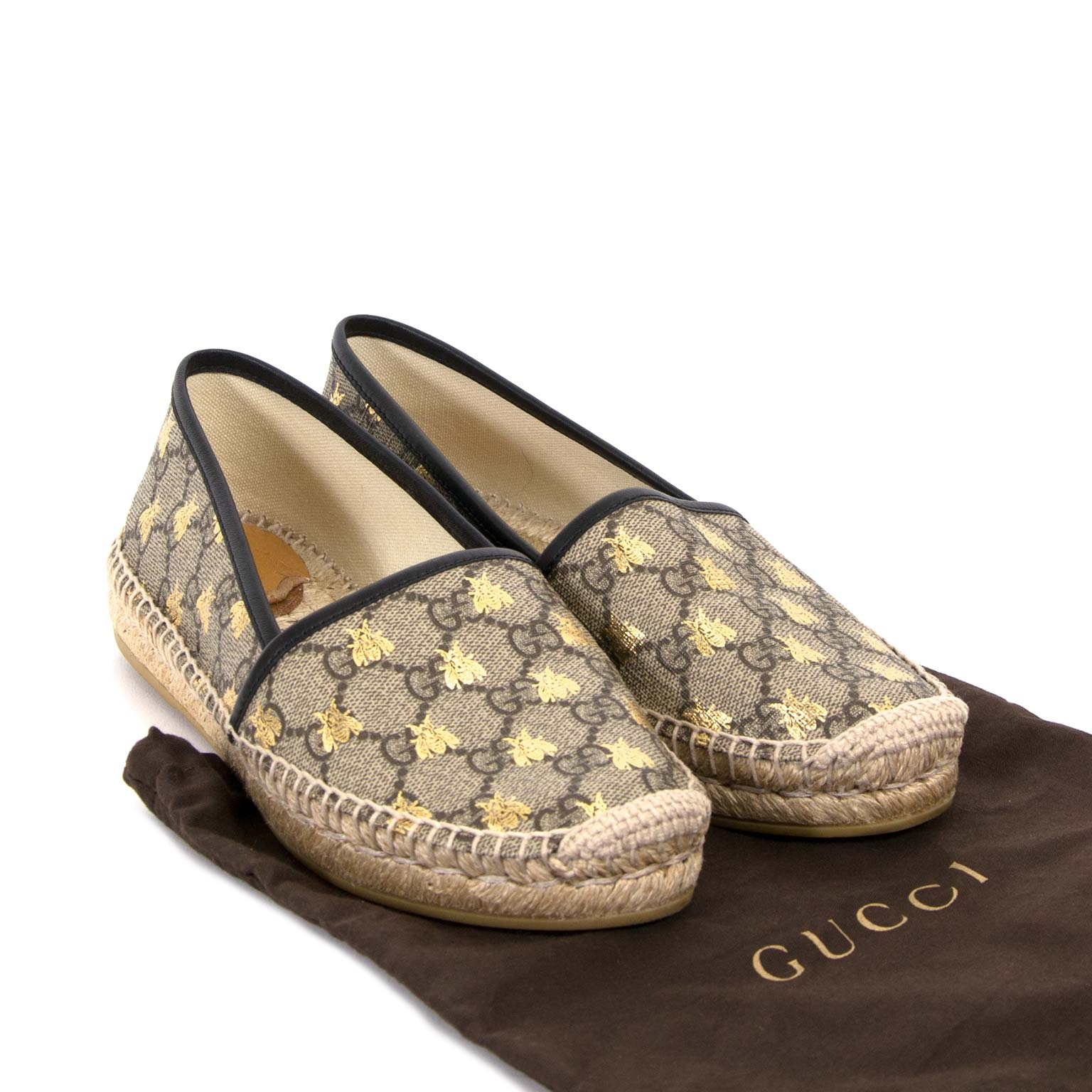 gucci gg supreme bees monogram espadrilles now for sale at labellov vintage fashion webshop belgium