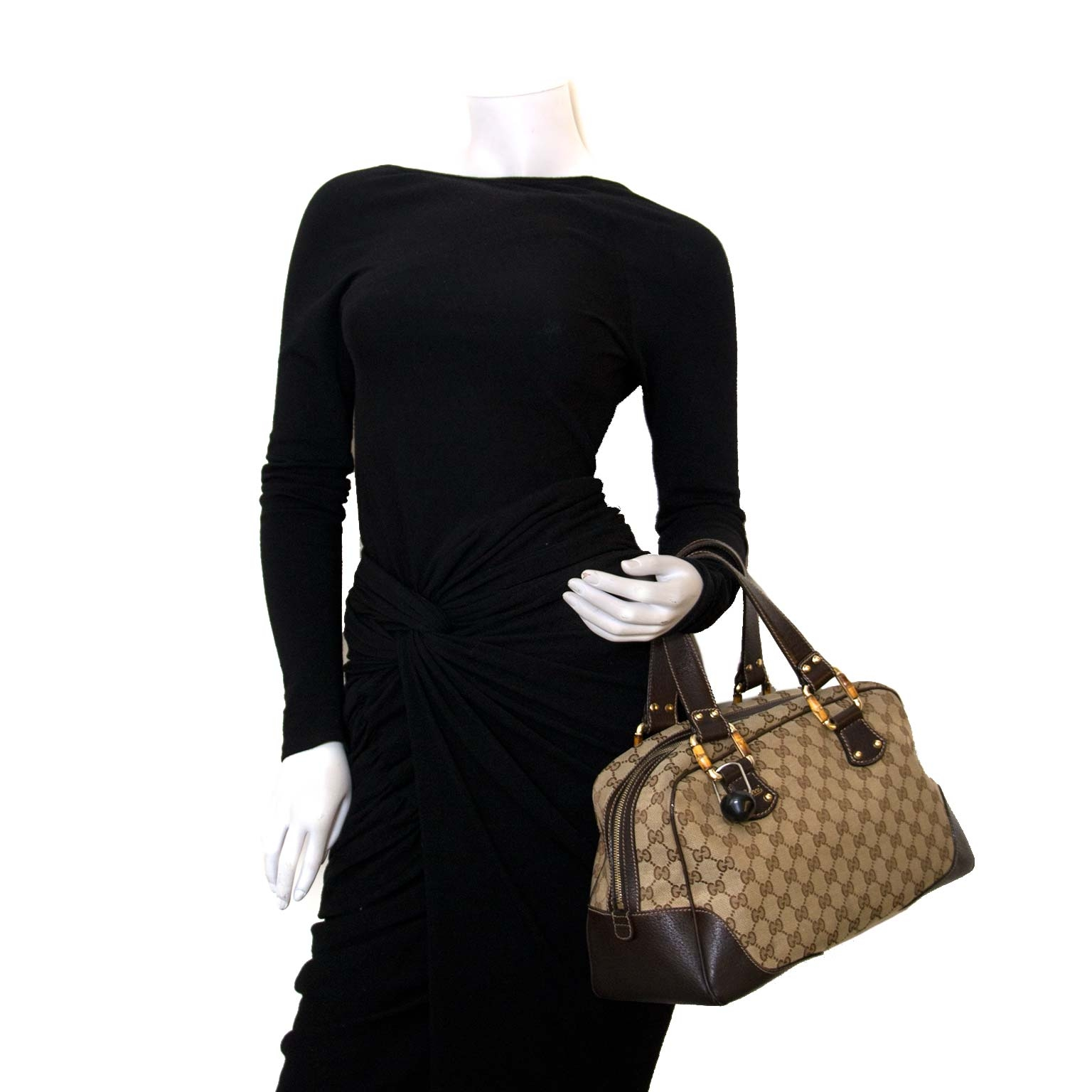 Gucci Guccissima Brown Bamboo Shoulder Bag  for sale online