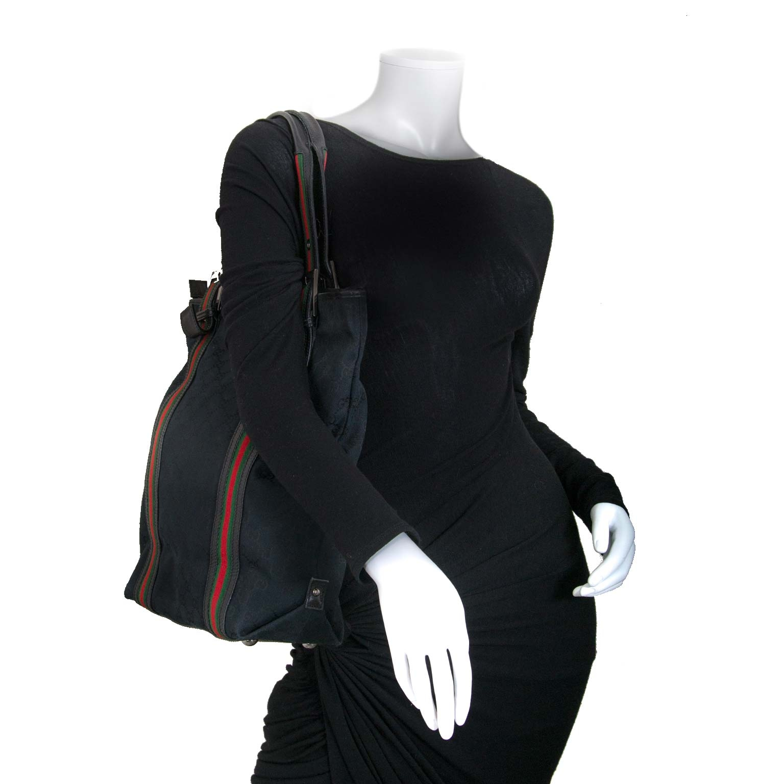 Gucci Black Monogram Fabric Webb Shopper Tote