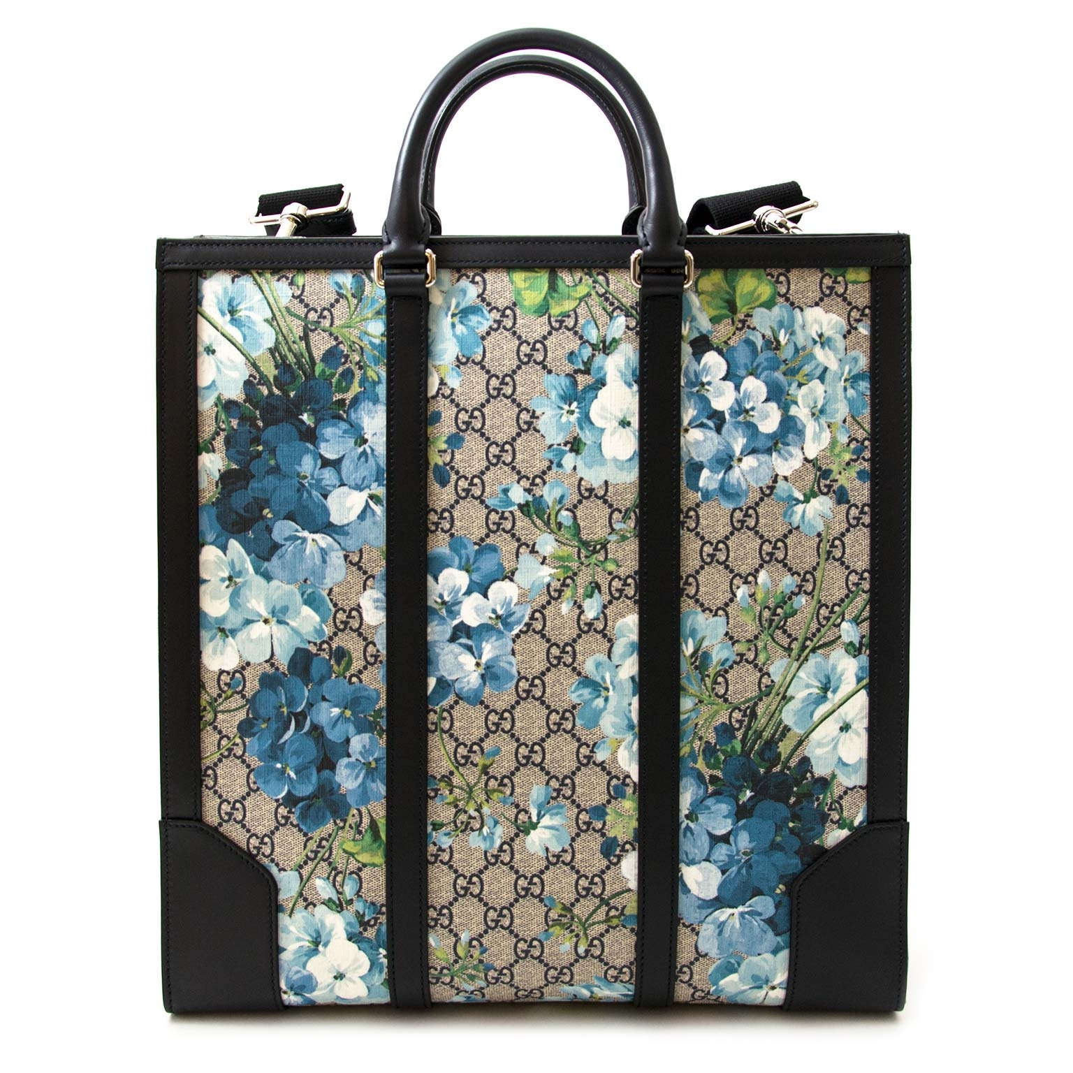 acheter en ligne seconde main Gucci Supreme Monogram Blooms Print Tote Blue