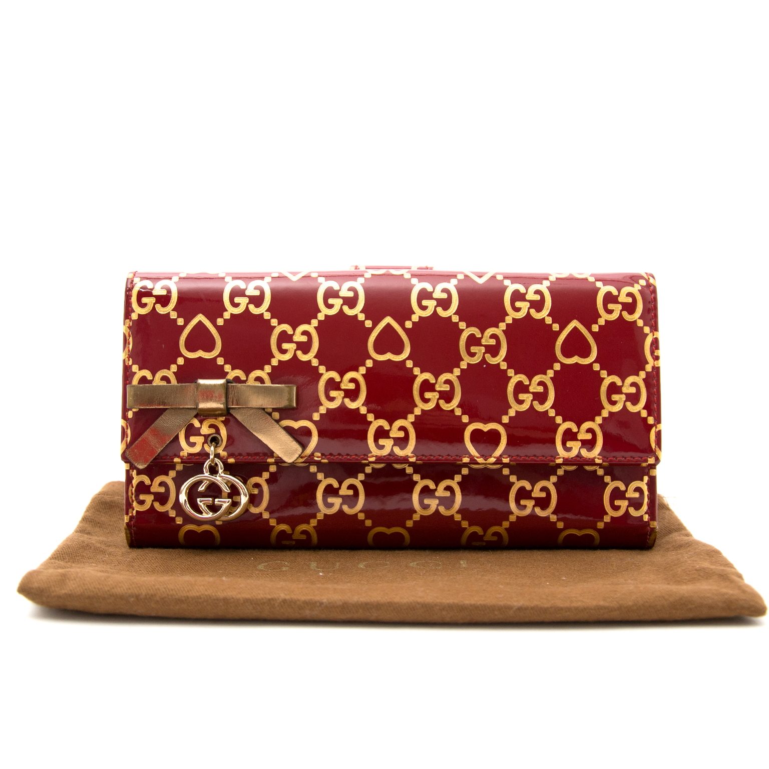 Buy a secondhand Gucci Red Monogram Heart Wallet online