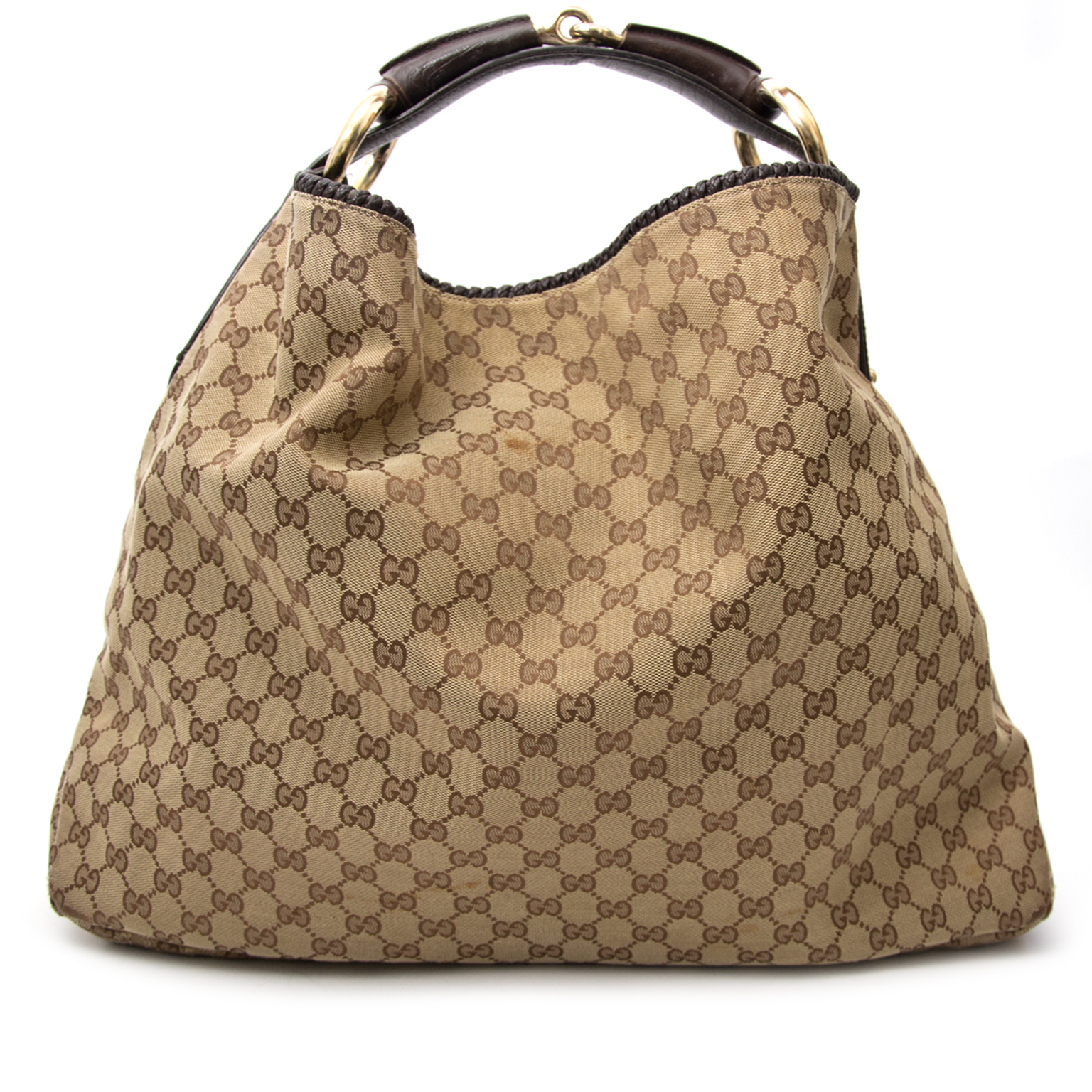 We buy and sell your secondhand designer handbags for the best price Gucci Brown Monogram Horsebit Bag