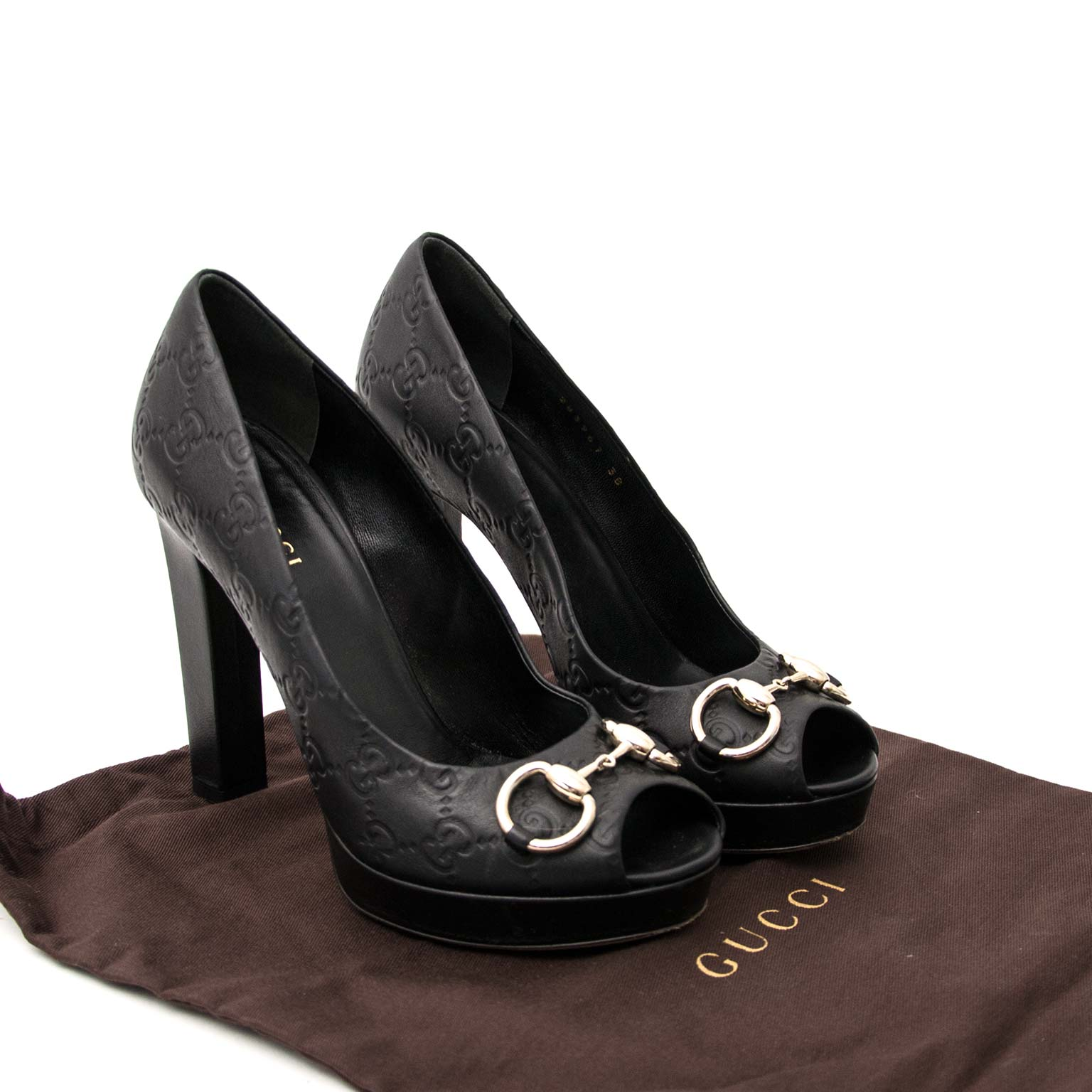 Gucci Horsebit Logo Embossed Peep-Toe Pump - size 38