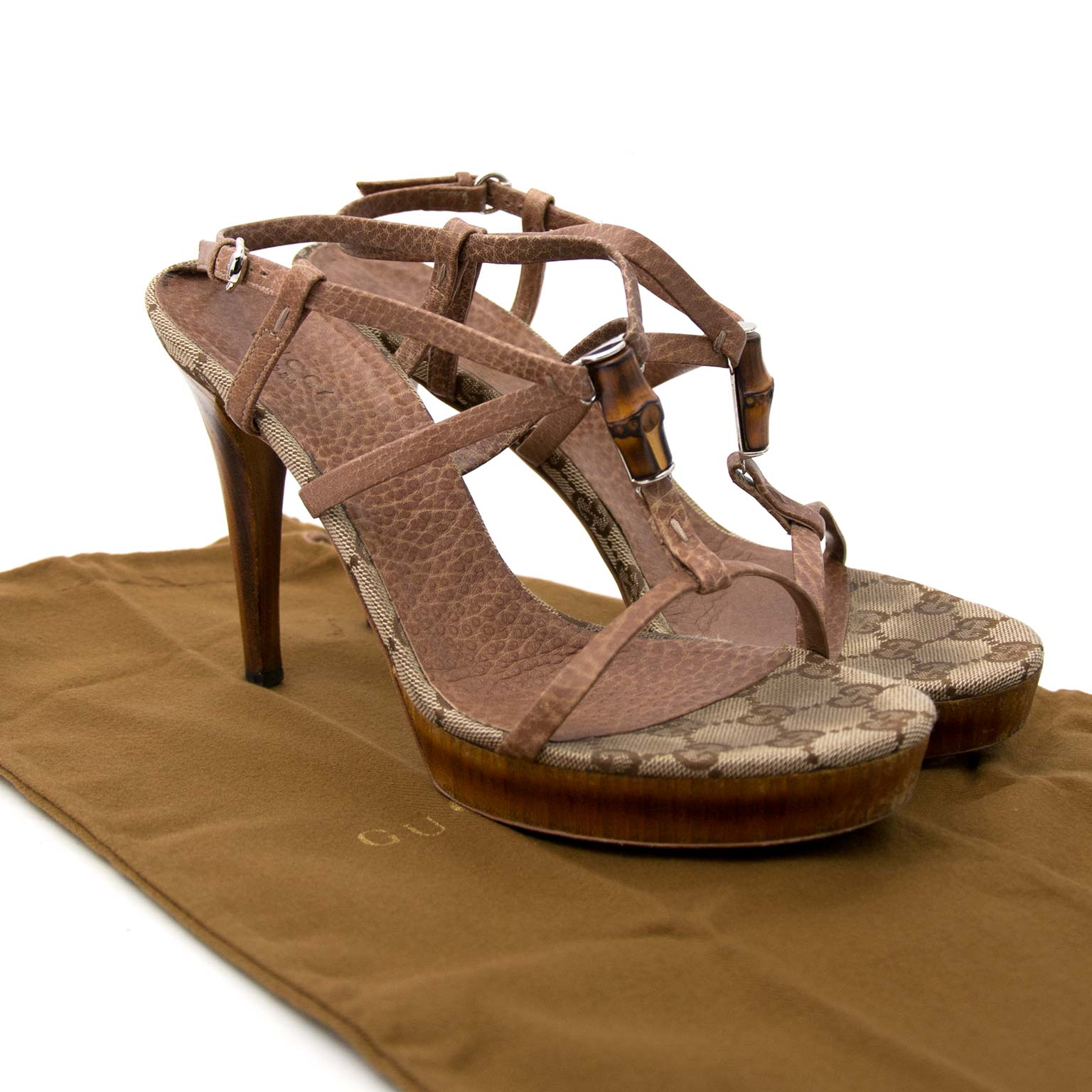 tweedehands Gucci Heel Sandal with Bamboo and Monogram Detail - Eu 38