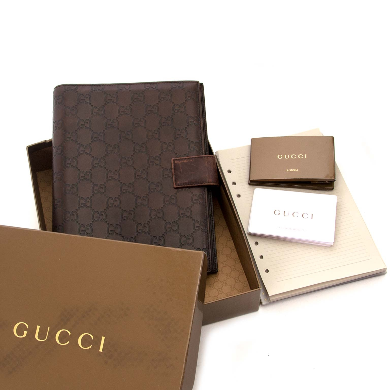 gucci brown monogram supreme agenda now for sale at labellov vintage fashion webshop belgium