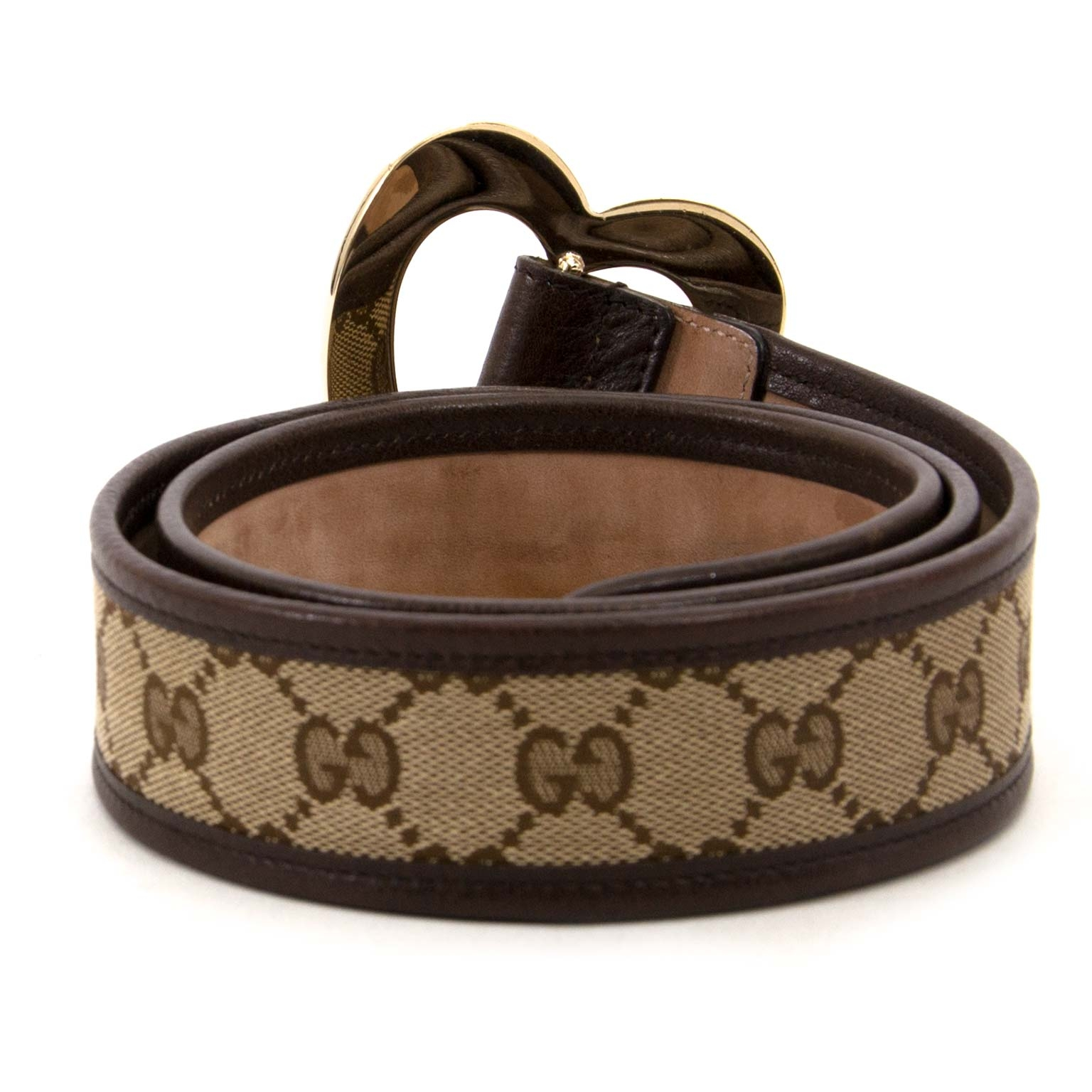 gucci monogram heart buckle belt now for sale at labellov vintage fashion webshop belgium