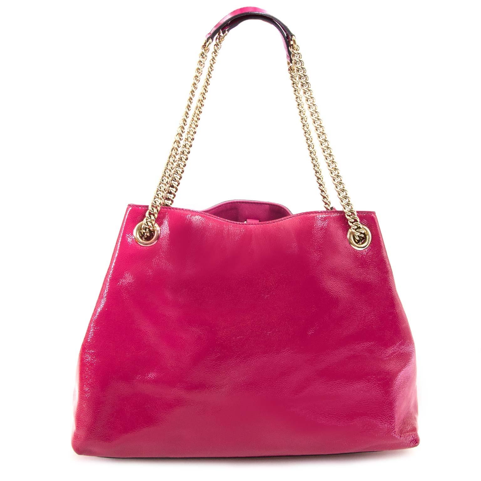 koop veilig online jou tweedehands Gucci Patent Pink Soho Shoulder Bag