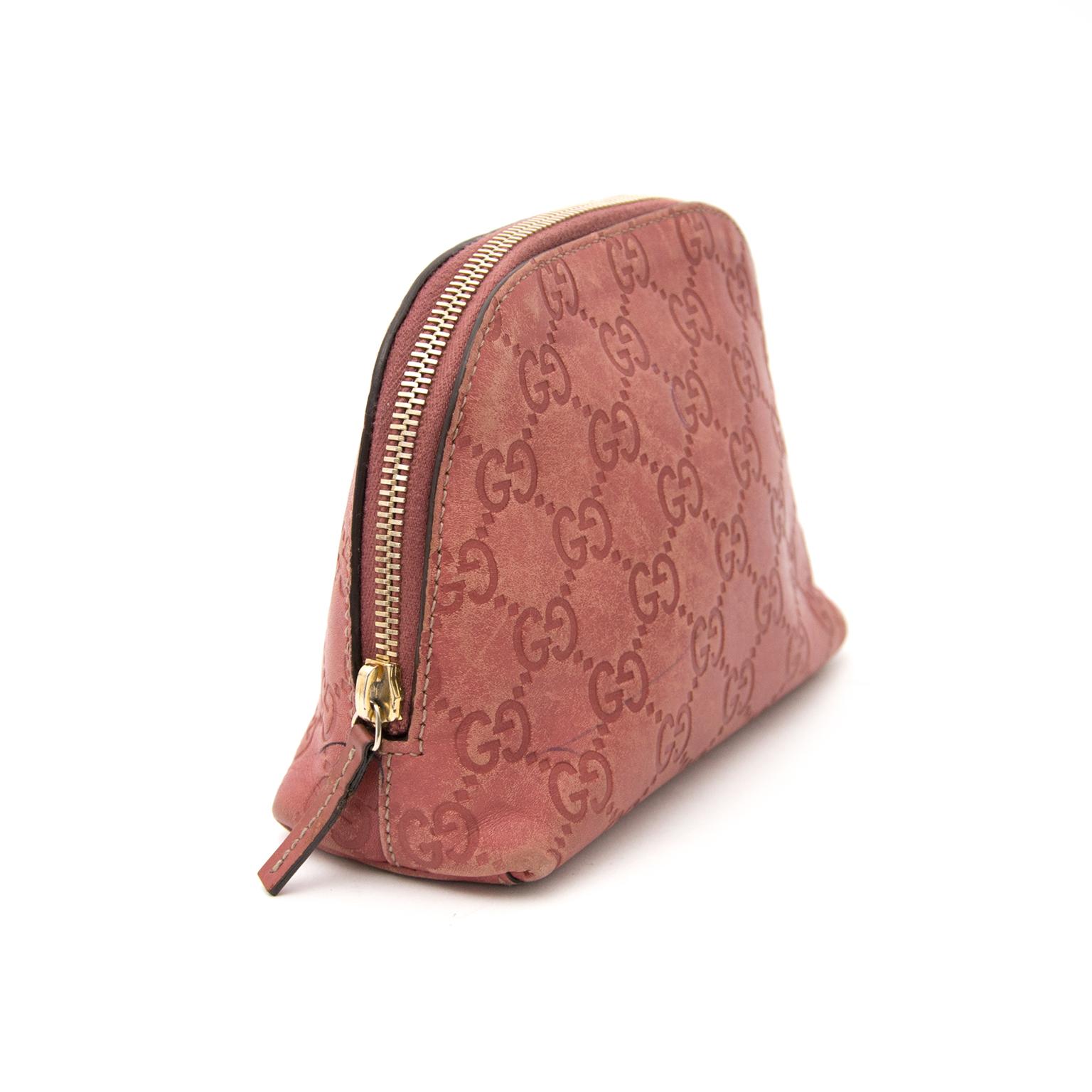Koop en verkoop uw gucci monogram guccissima roze cosmetica tasje nu online bij labellov.com