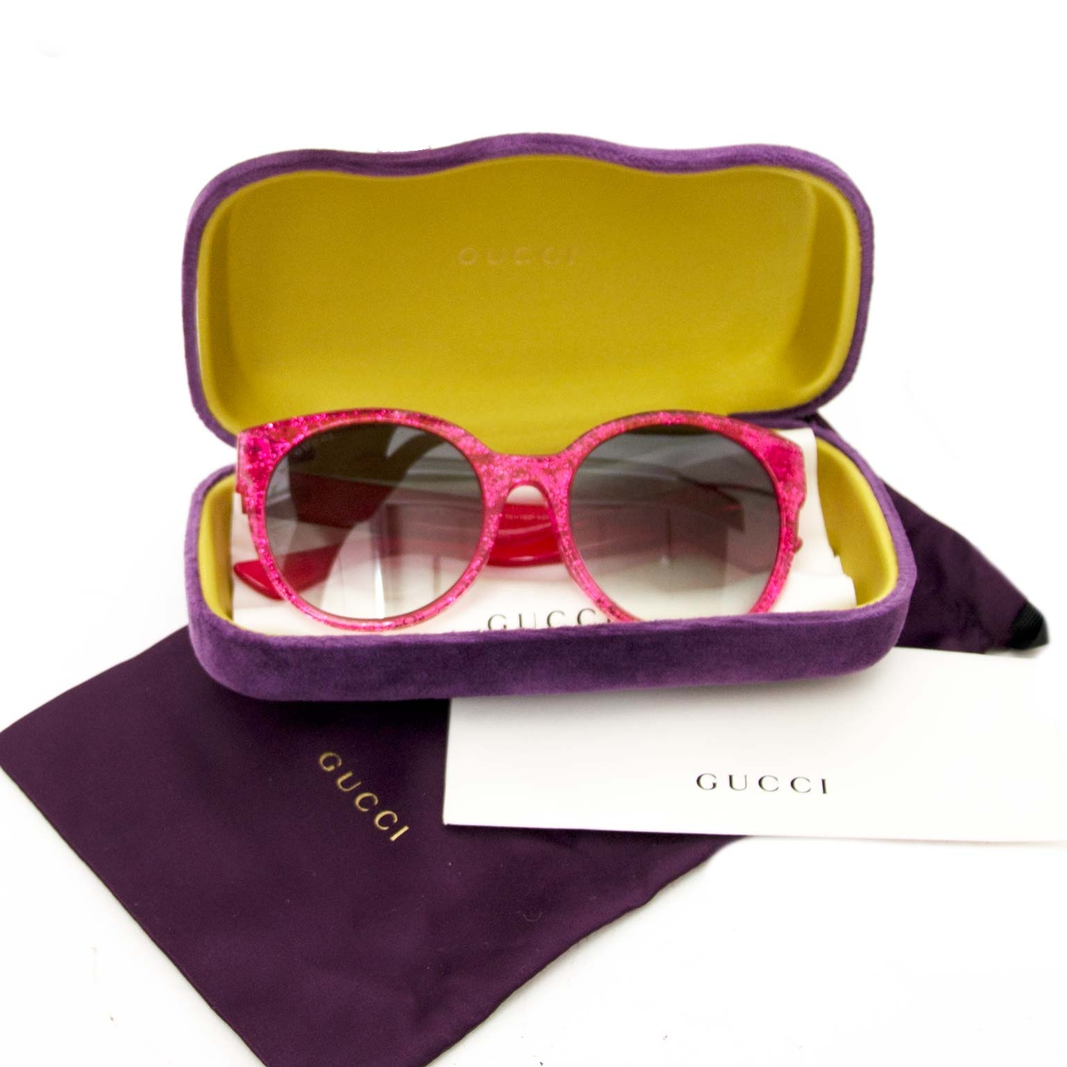 Gucci Pink Glitter Sunglasses for sale online at Labellov