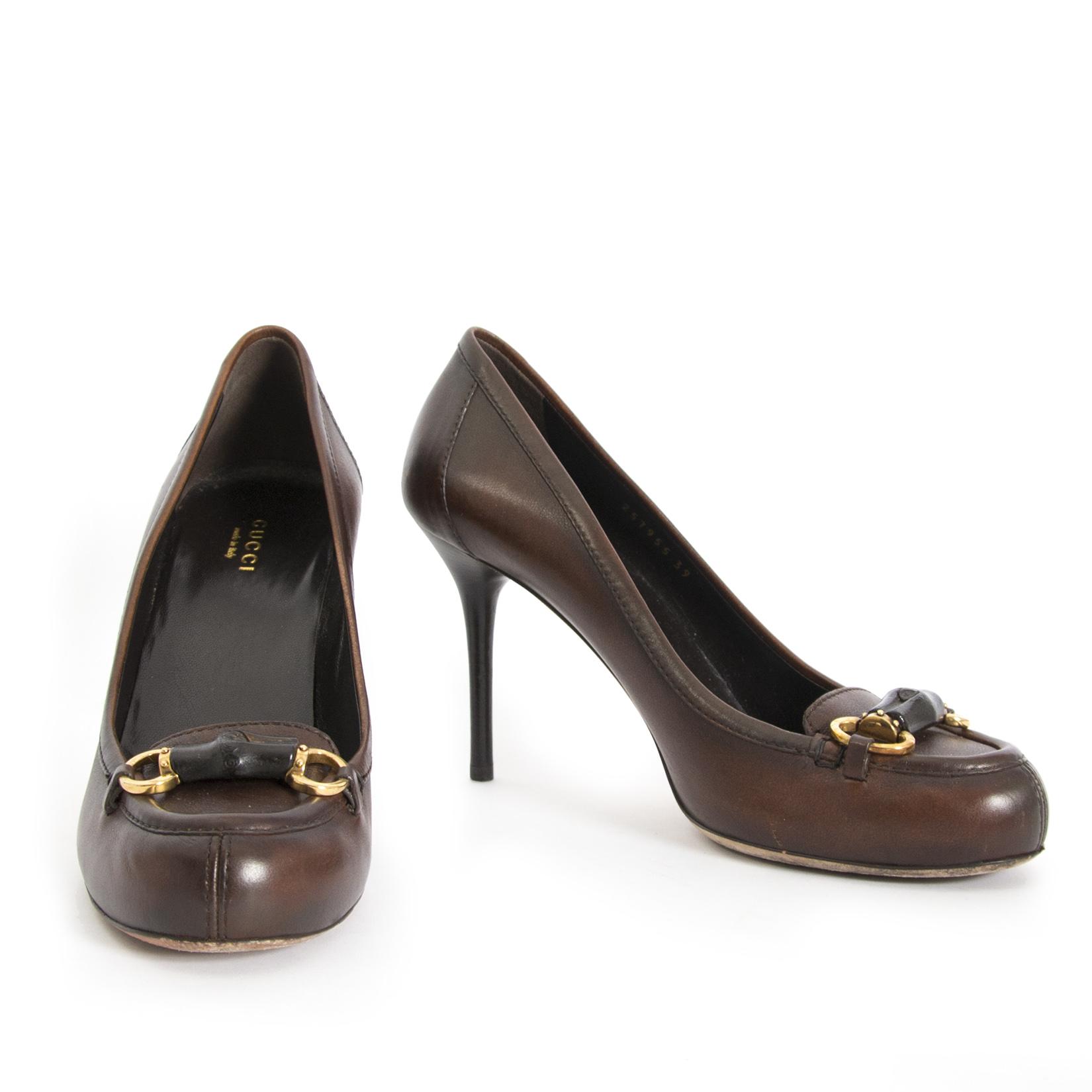 shop safe online your Gucci Brown Horsebit Pumps - size 39