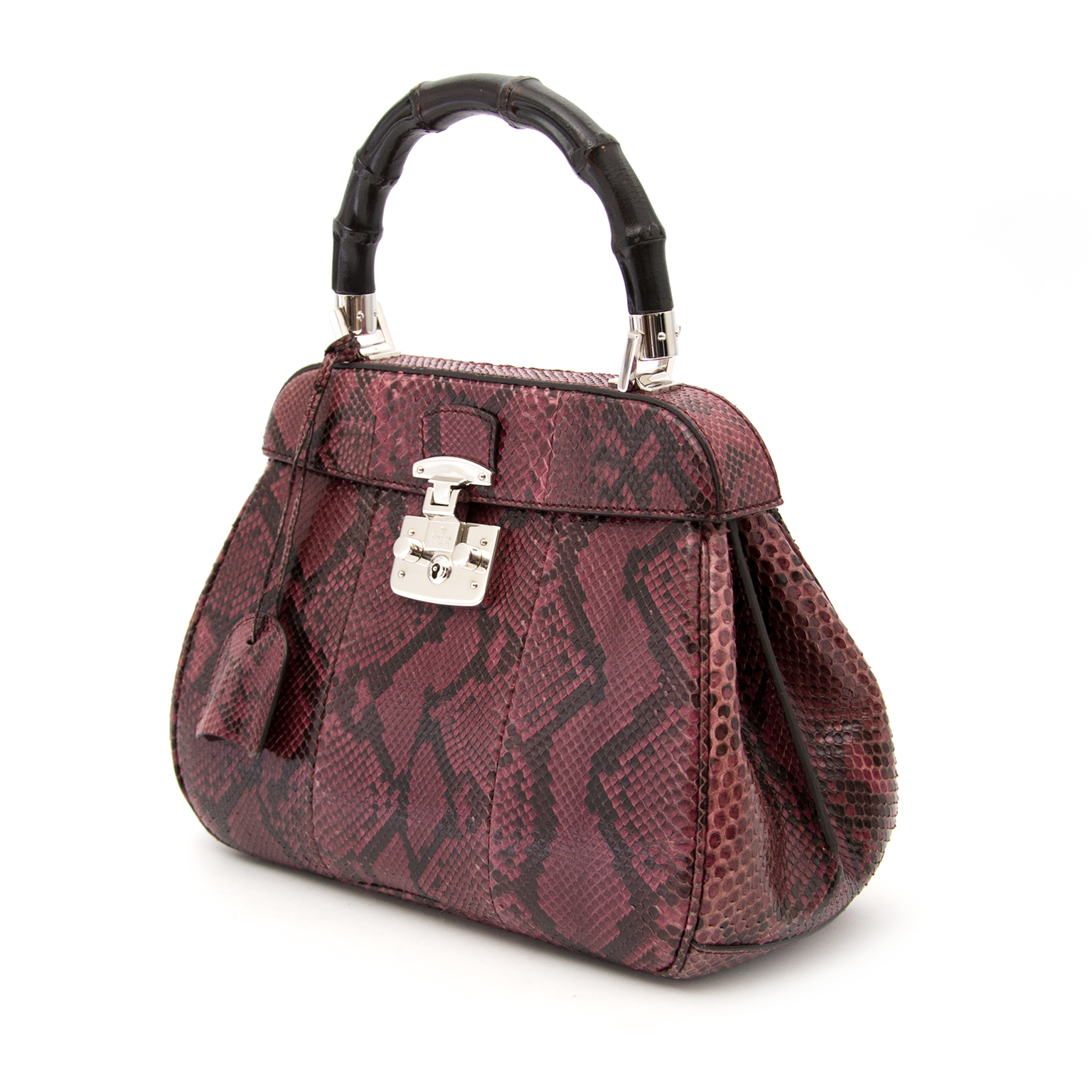 koop een Gucci Lady Lock Wine Python Top Handle Bag online.