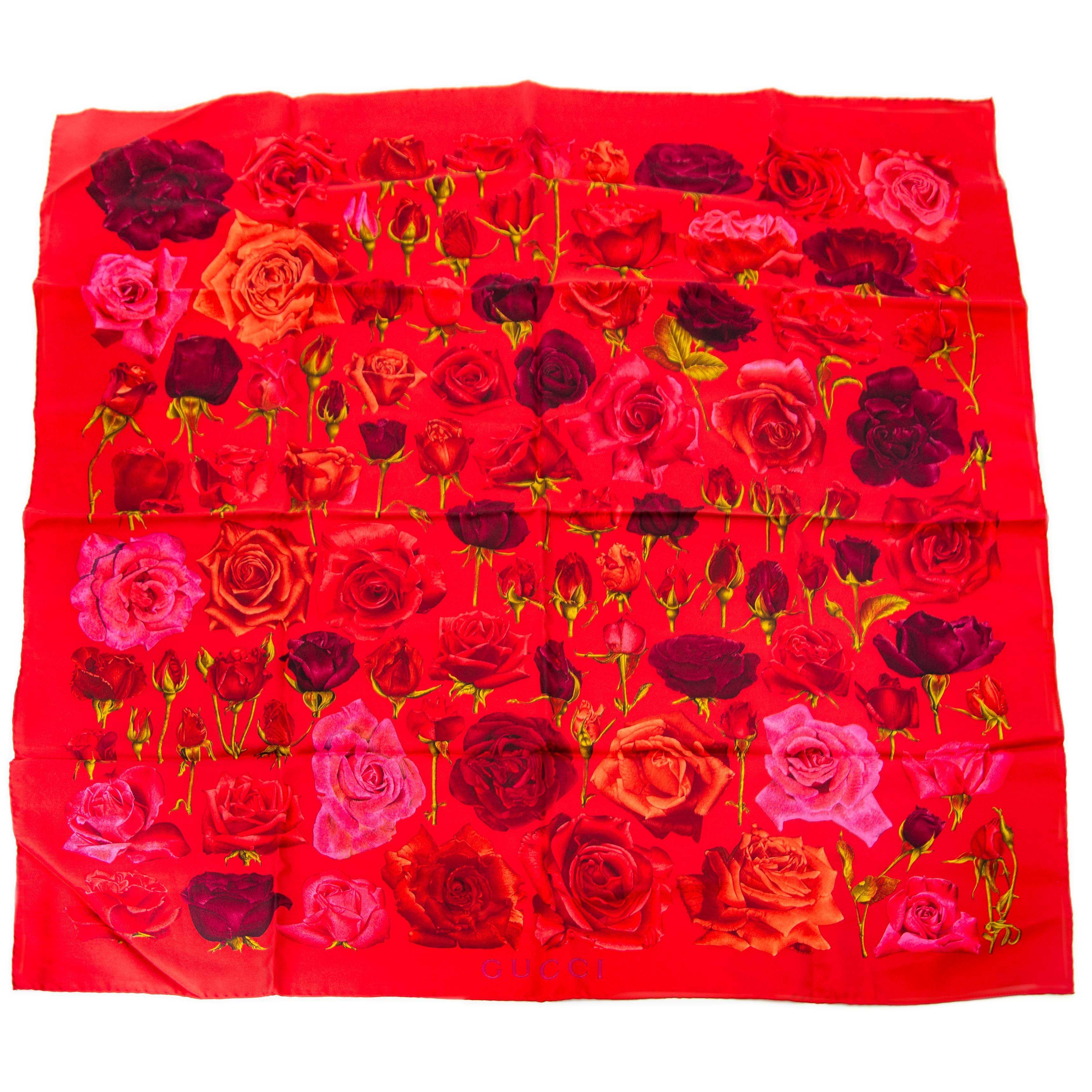 acheter en ligne pour le meilleur prix Gucci Red Tone Rose Scarf