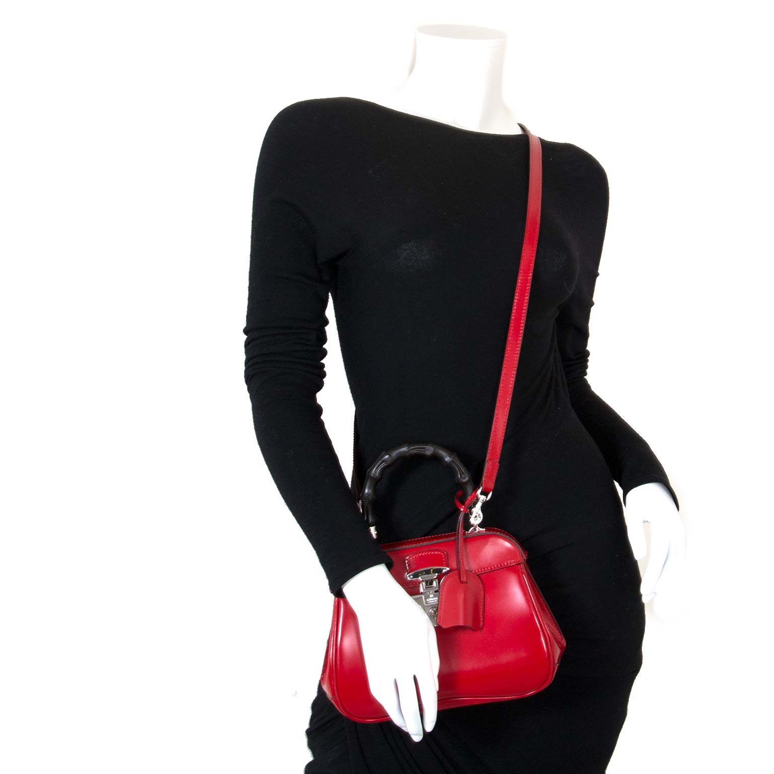 Gucci Lady Lock Bamboo Top Handle Red Leather Bag now for sale at labellov vintage fashion webshop belgium