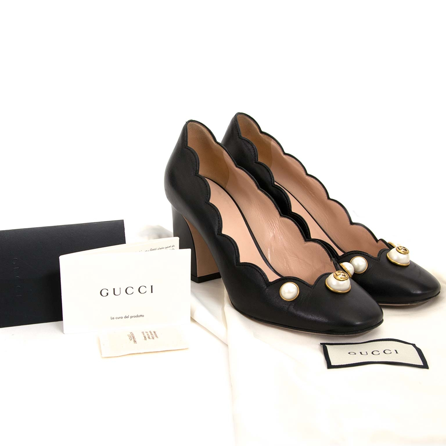 gucci gg pearl pumps now for sale at labellov vintage fashion webshop belgium