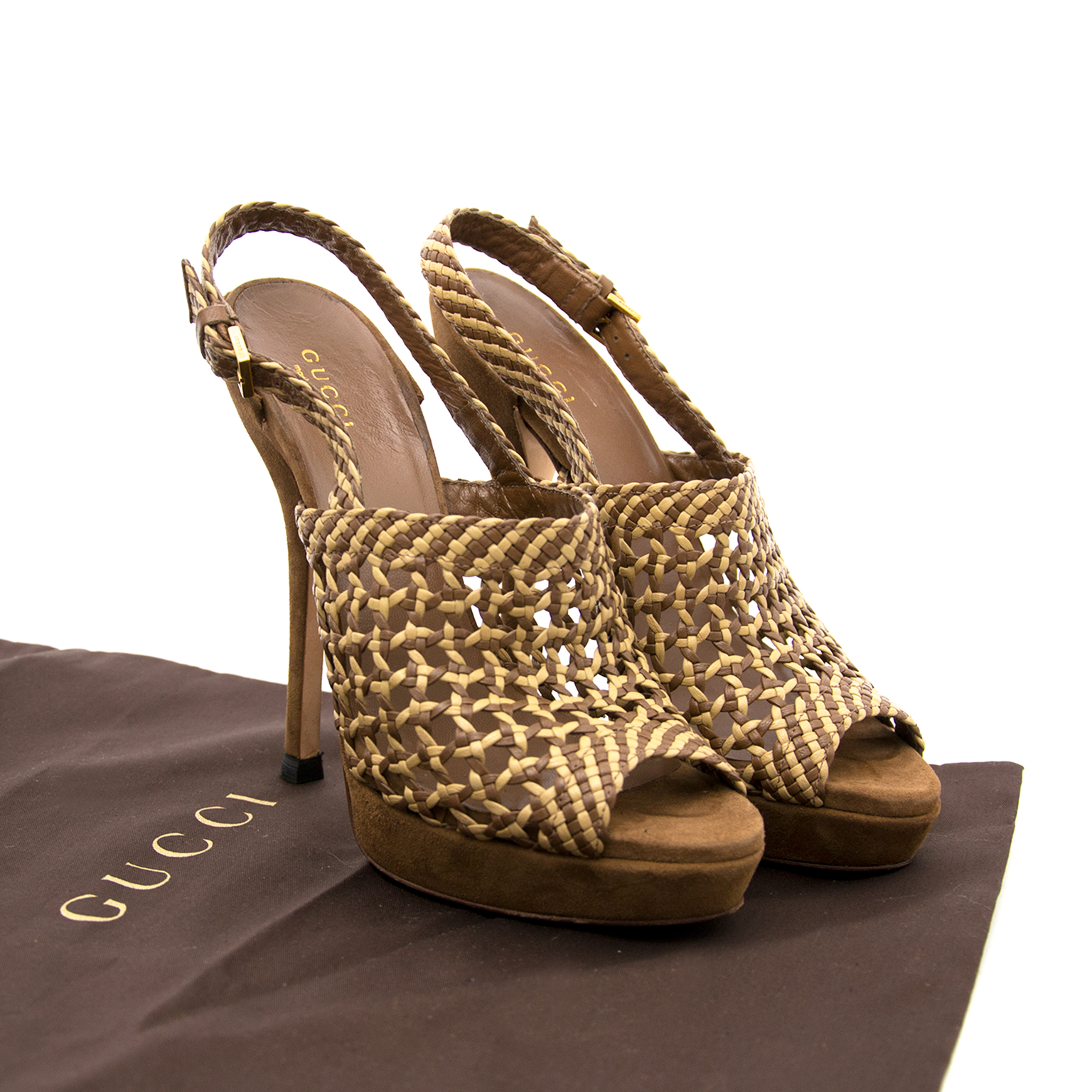 Acheter des Gucci Woven Leather Heels Size 37chez labellov.com
