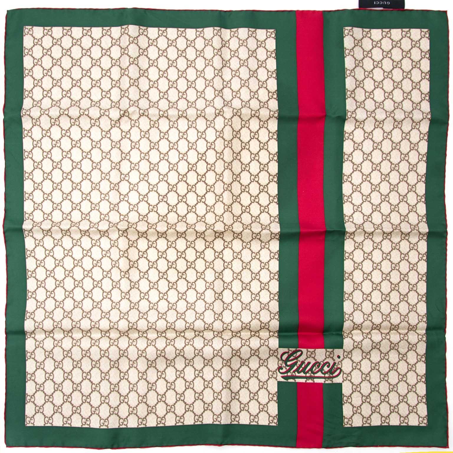 Acheter un Gucci Red Green Monogram Scarf en ligne chez Labellov.com.