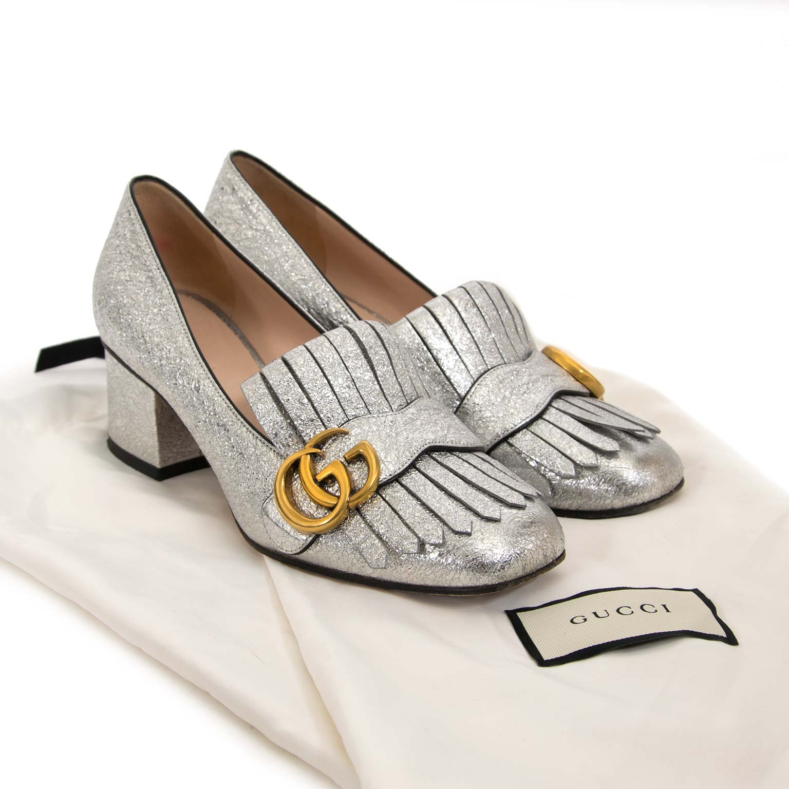 second hand Gucci Galassia Mid-Heel Silver Pump now for sale at labellov antwerp for the best price
