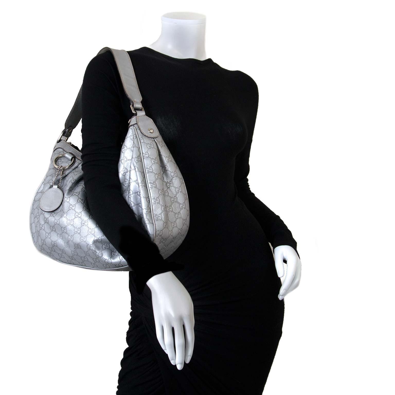 Gucci Guccissima Medium Sukey Hobo Silver bag now for sale at labellov vintage fashion webshop belgium