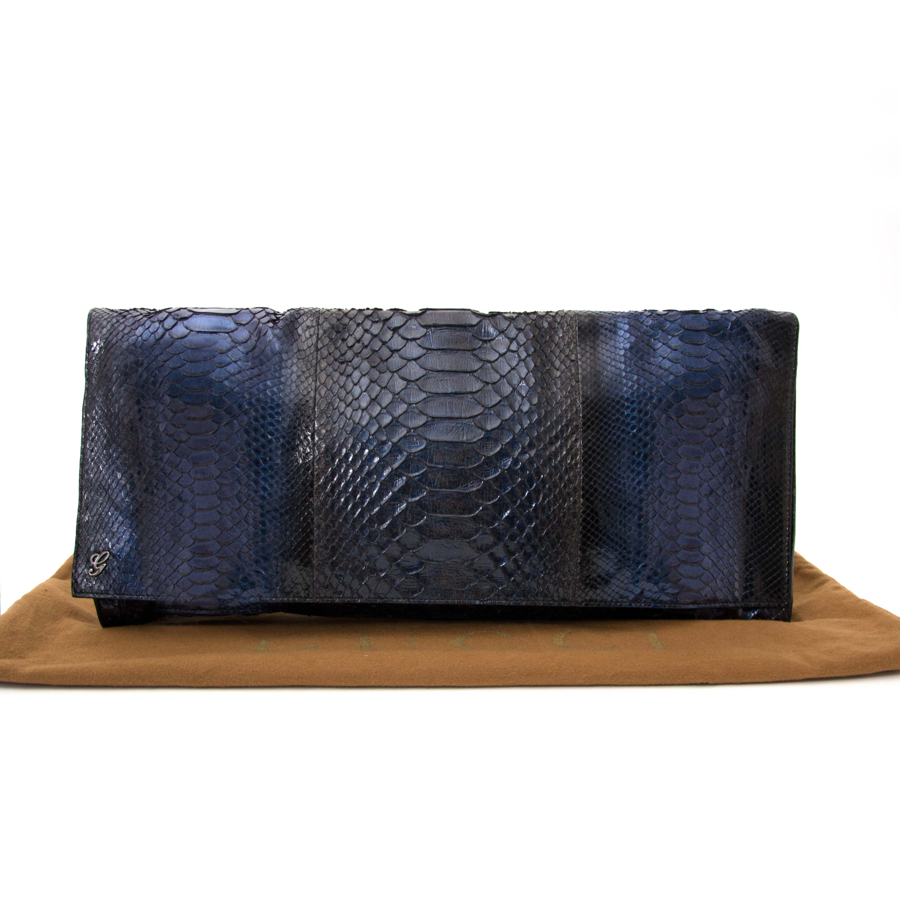 Secondhand Gucci clutch python blue Labellov