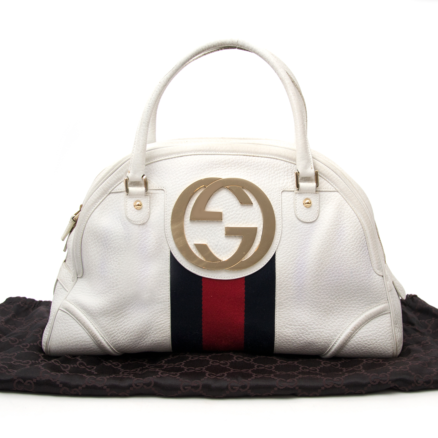 36067421dd8d65 ... We buy and sell your authentic Gucci Monogram Web Bowling Bags for the  best price