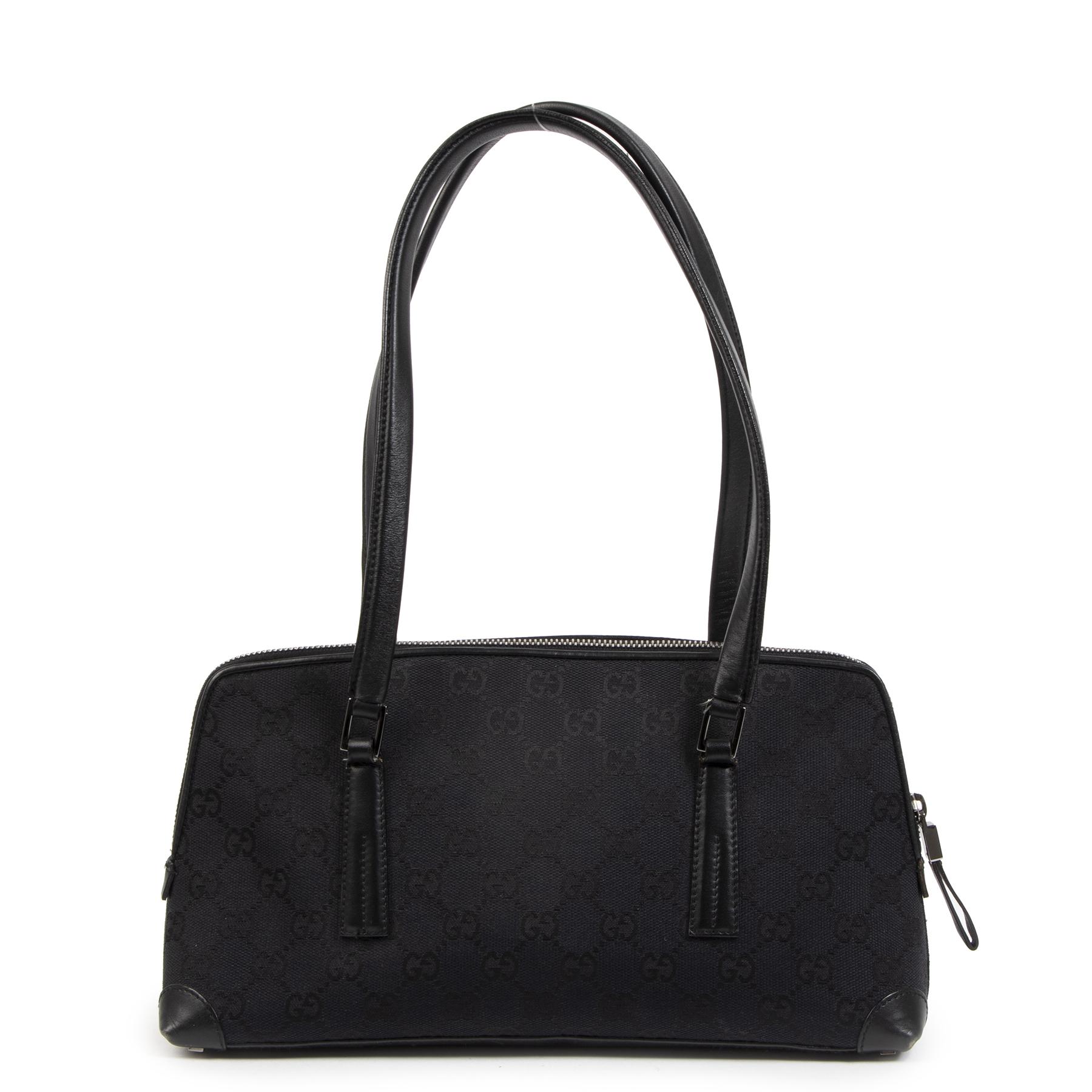 Authentic secondhand Gucci Black GG Monogram Canvas Shoulder Bag juiste prijs veilig online shoppen luxe merken webshop winkelen Antwerpen België mode fashion
