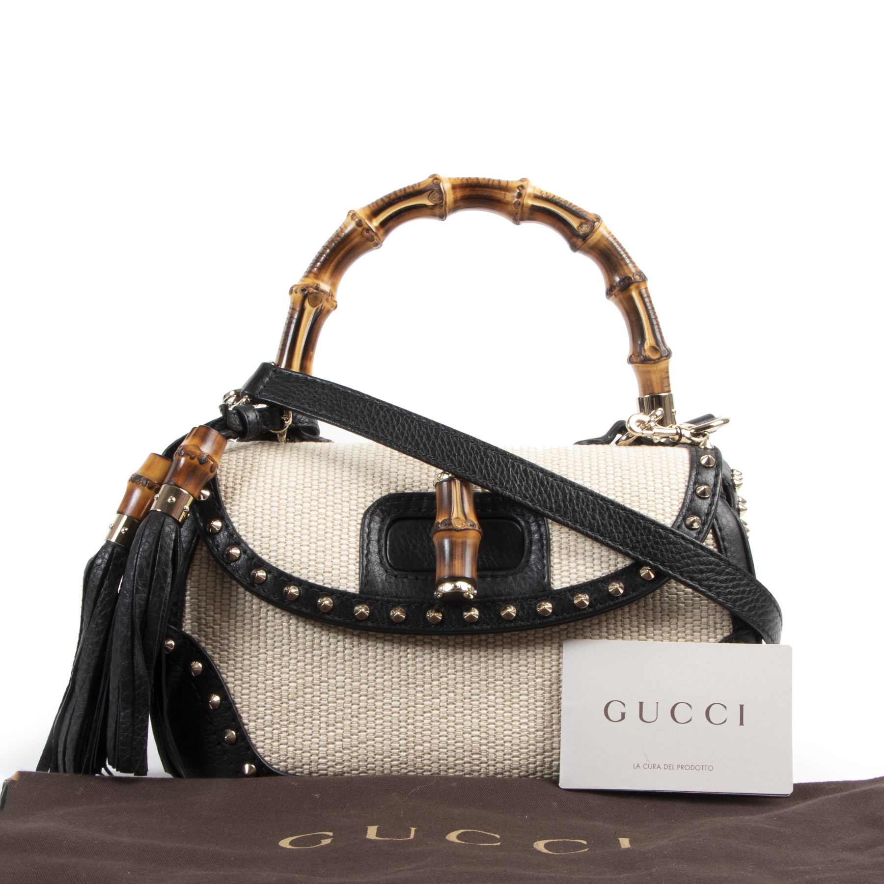 Authentic secondhand Gucci Straw Studded Leather New Bamboo Top Handle Bag designer bags fashion luxury vintage webshop safe secure online shopping