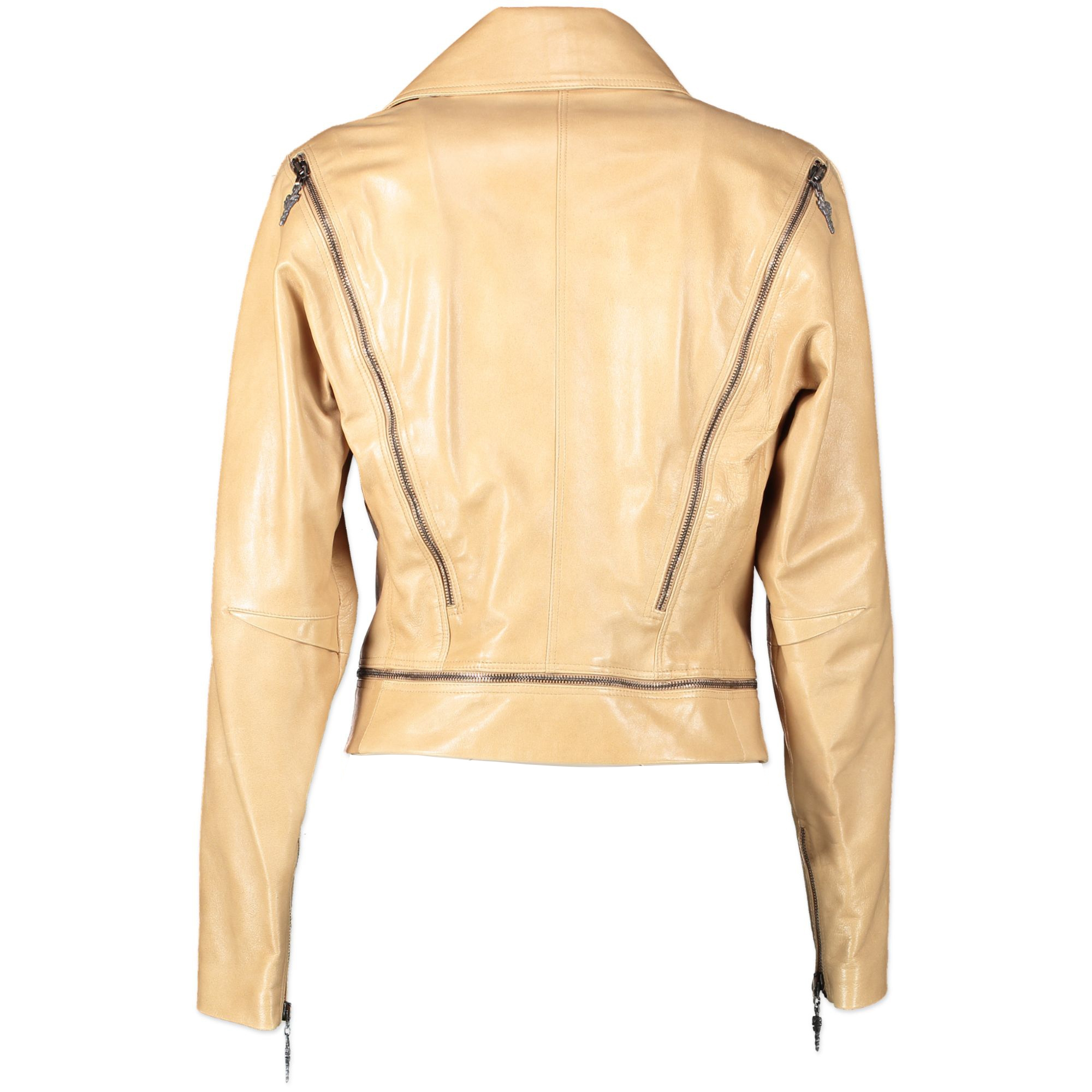 Versace Beige Leather Biker Jacket - size 40