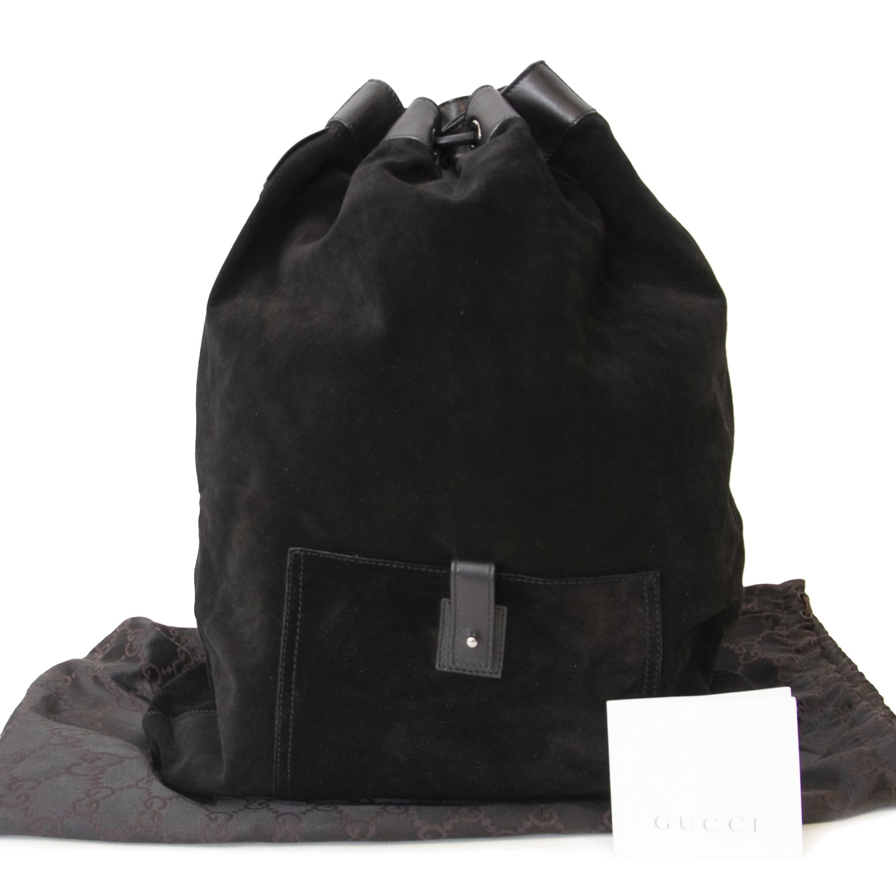 Gucci Black Suede Backpack. Koop online tweedehands Gucci items, zwarte rugzak, designer item.