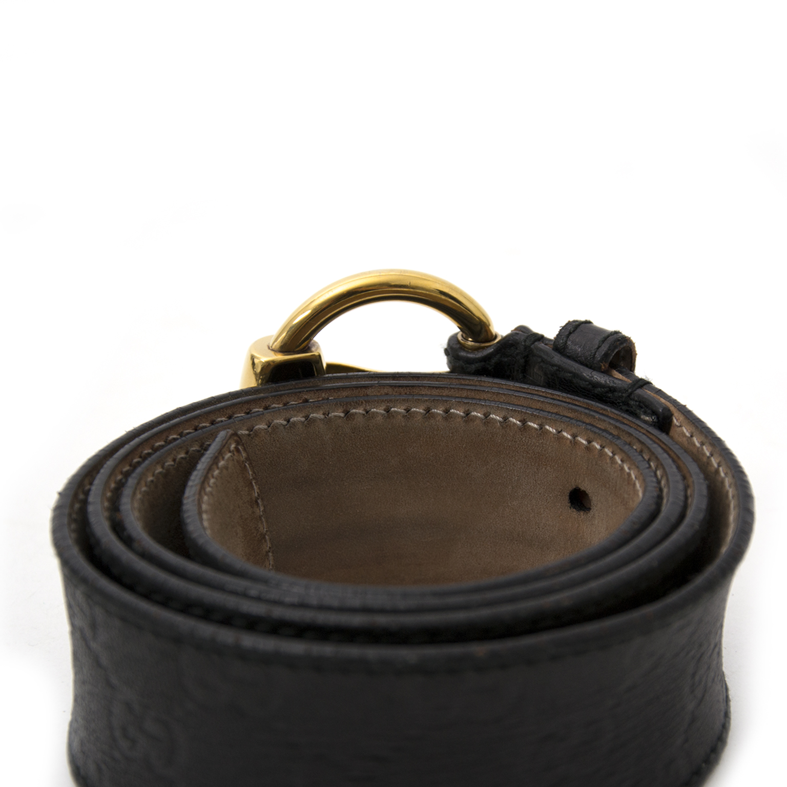 shop safe online Gucci Black Leather Monogram Belt second hand