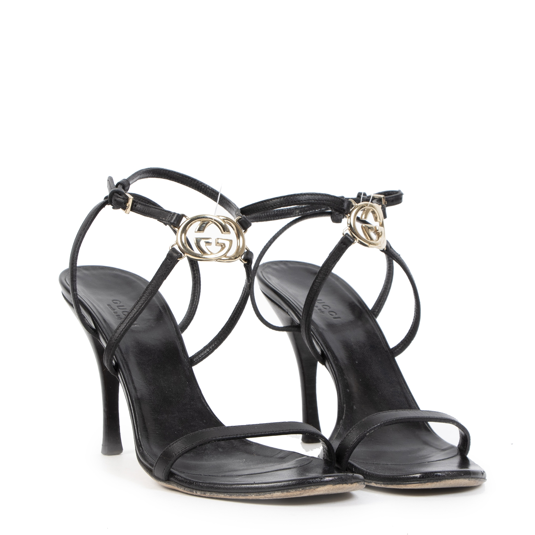 Authentieke tweedehands vintage Gucci Strappy Sandal Heels - Size 39 koop online webshop LabelLOV