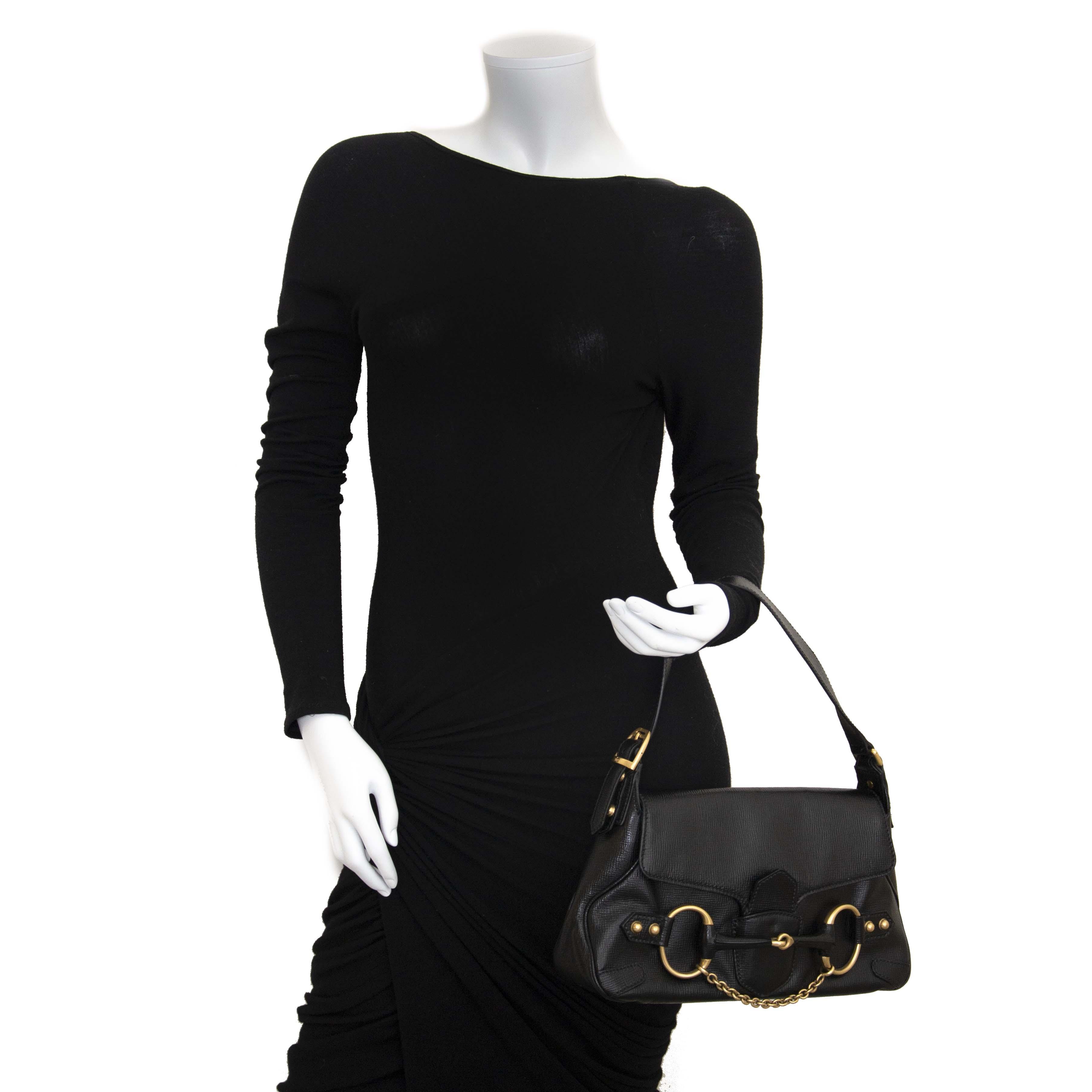 Gucci Black Leather Horsebit Shoulder Bag now for sale at labellov vintage fashion webshop belgium